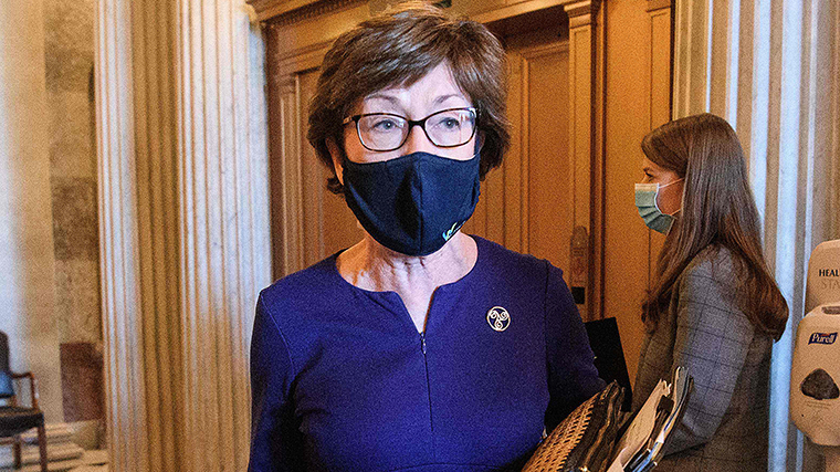 Sen.r Susan Collin speaks to reporters at the US Capitol in Washington, DC, on Tuesday, September 22.