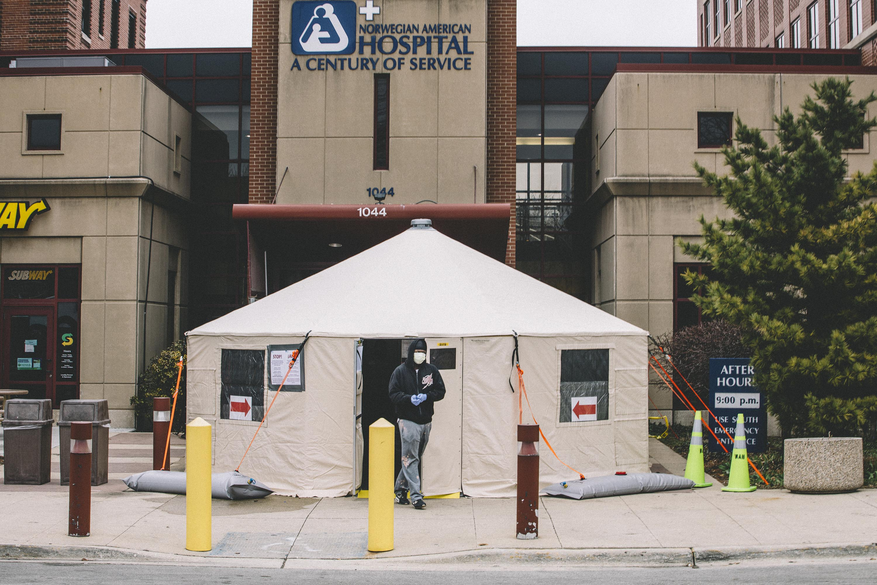 A coronavirus testing tent is pictured outside of Norwegian American Hospital in Chicago, on March 26.