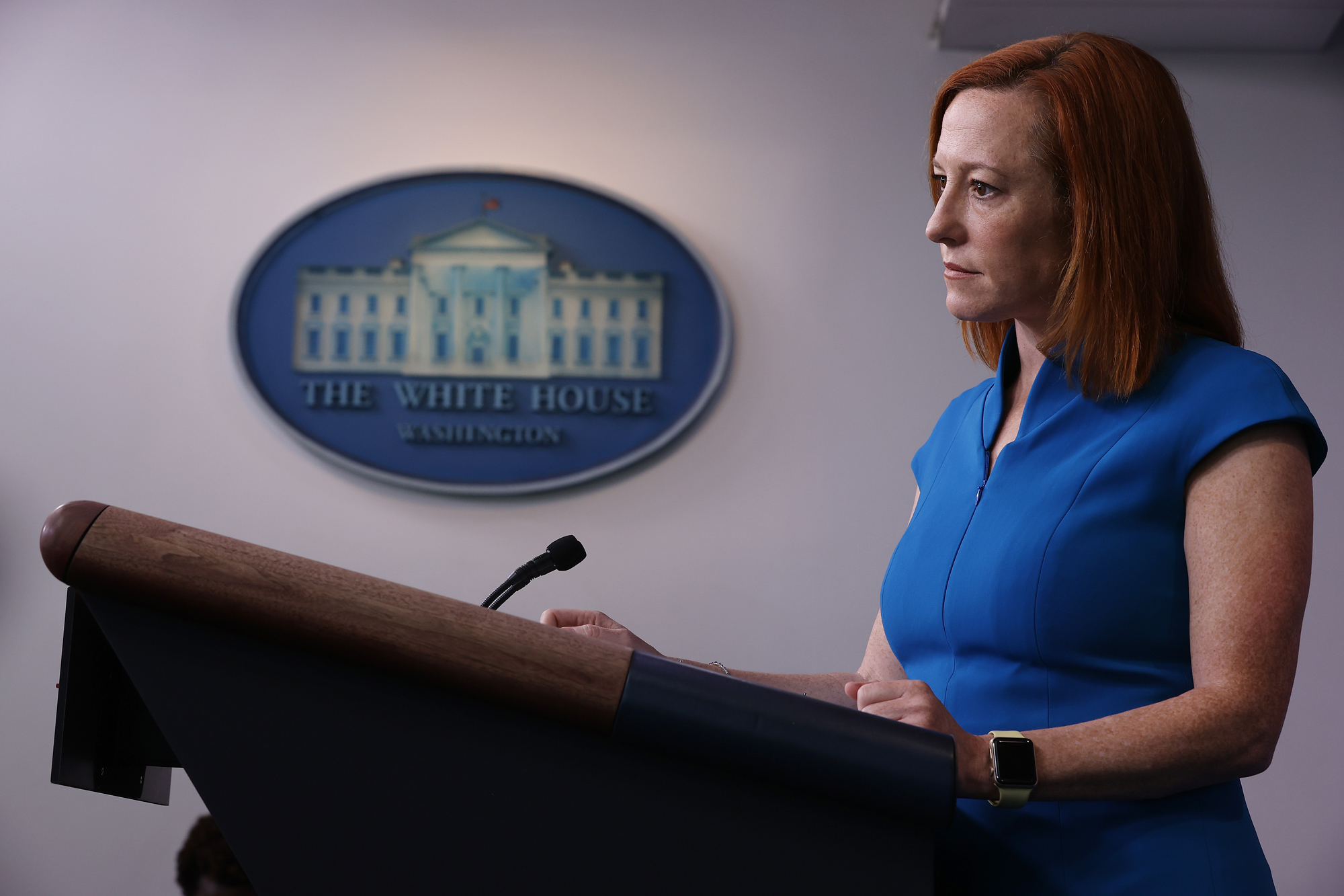 White House Press Secretary Jen Psaki holds a news conference in the Brady Press Briefing Room at the White House on March 26 in Washington, DC.