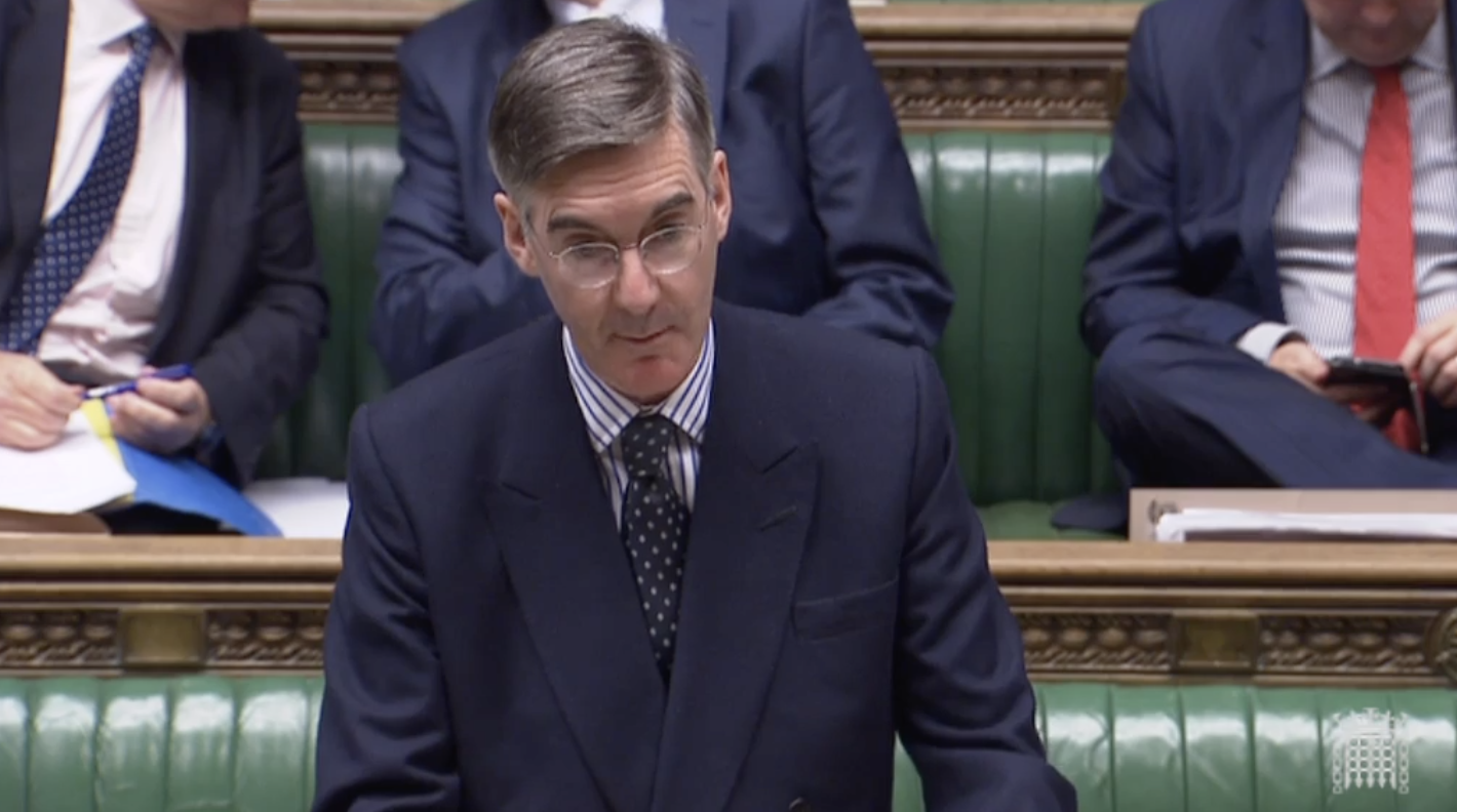 Jacob Rees-Mogg in the House of Commons Monday. Parliament TV