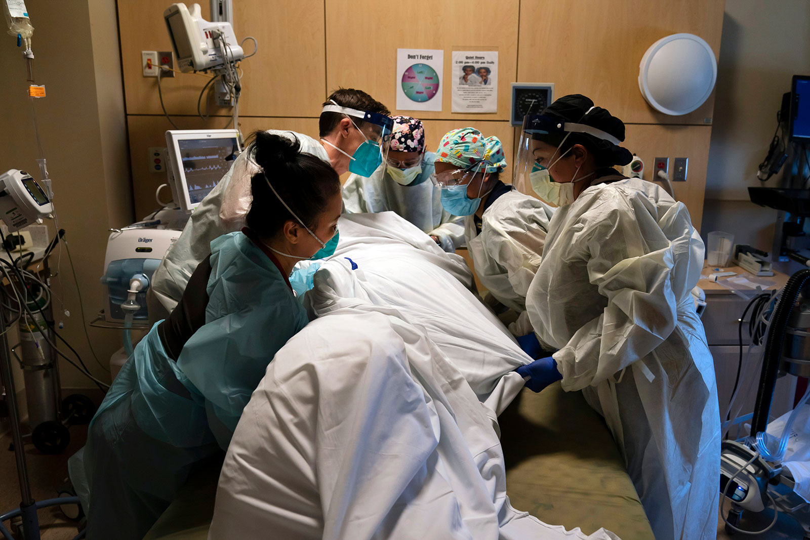 Medical personnel treat a Covid-19 patient at Providence Holy Cross Medical Center in Los Angeles on November 19.