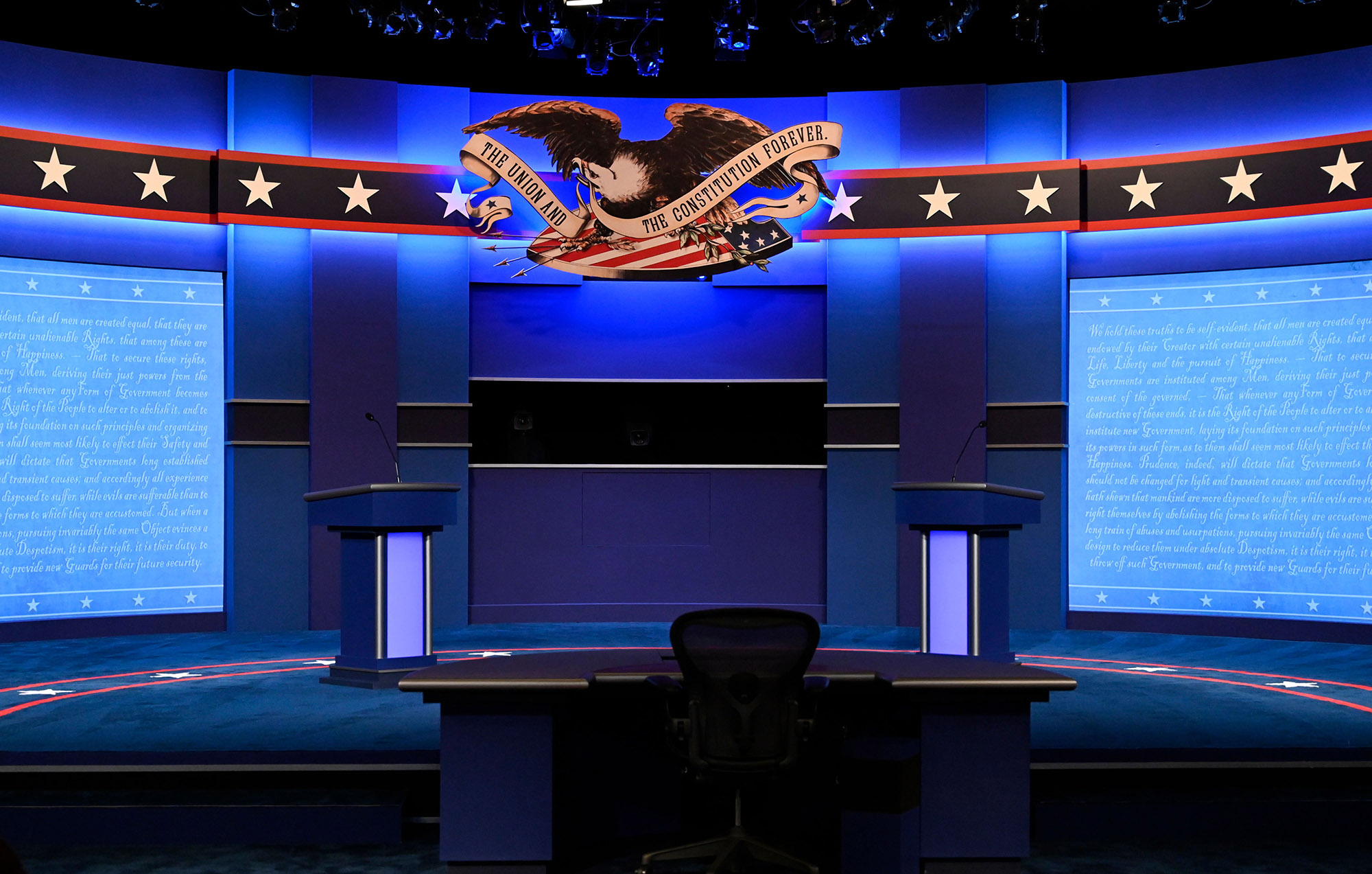 The acrylic glass dividers have been removed from the stage after both US President Donald Trump and Democratic Presidential candidate and former US Vice President Joe Biden had a negative test result for Covid-19 ahead of the final presidential debate at Belmont University in Nashville, Tennessee, on October 22.