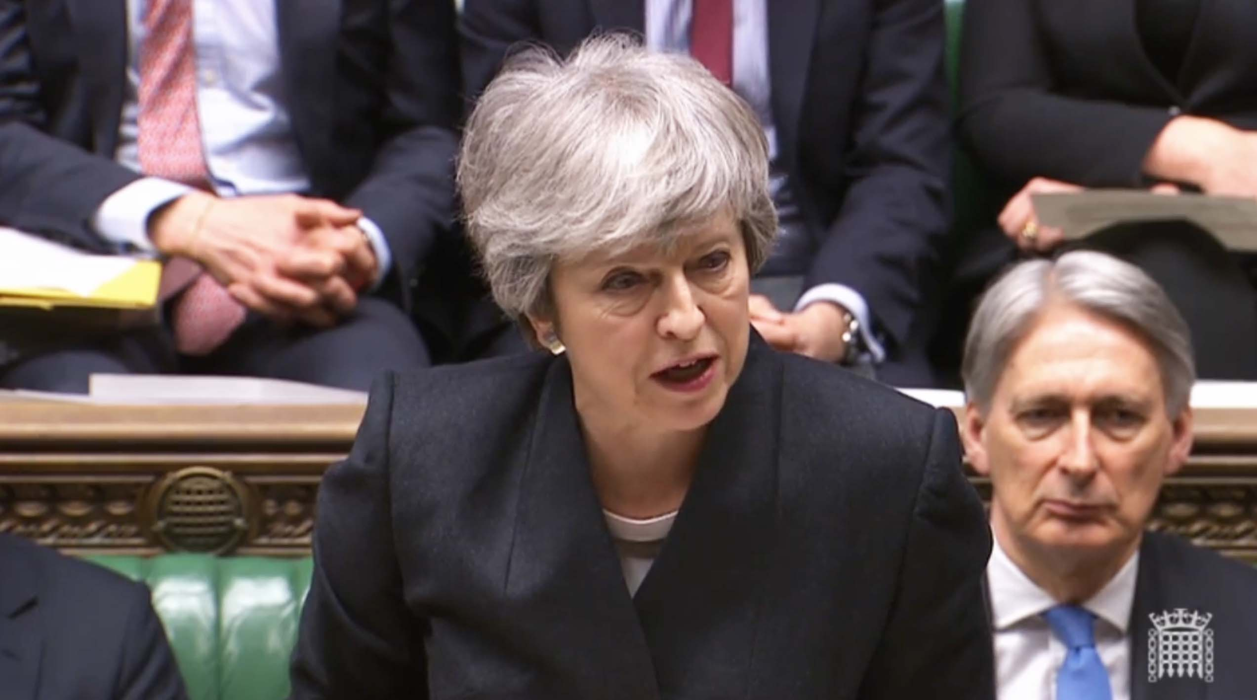 May addresses the House on Thursday.