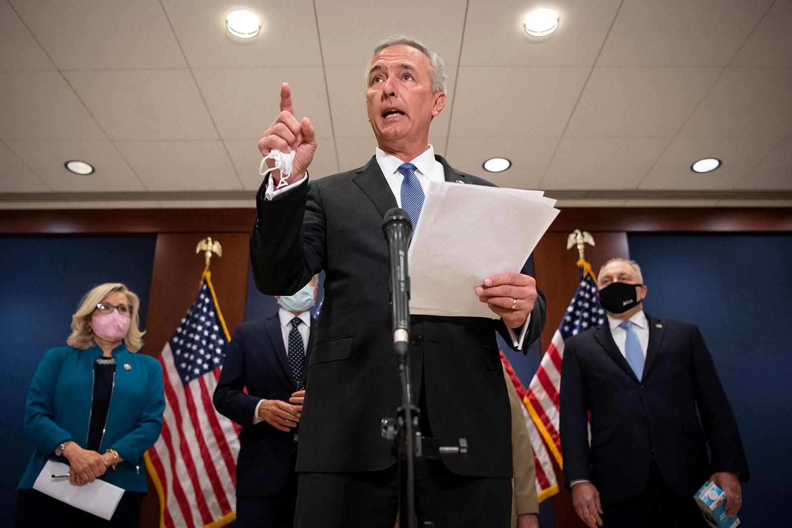 Rep. John Katko speaks at a press conference on April 14.
