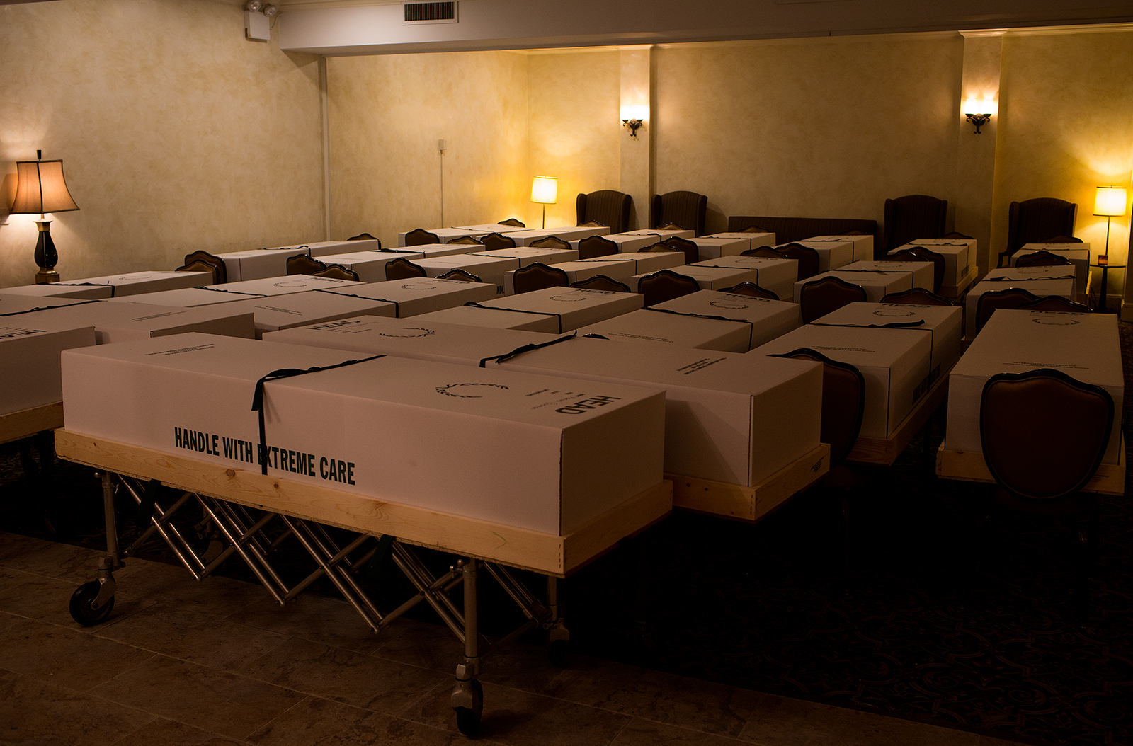 A funeral home in the epicenter of the COVID-19 pandemic deals with an excess of recent deaths because of the virus by storing bodies in the chapel before shipping to crematoriums and cemeteries in Queens, New York, on May 11.