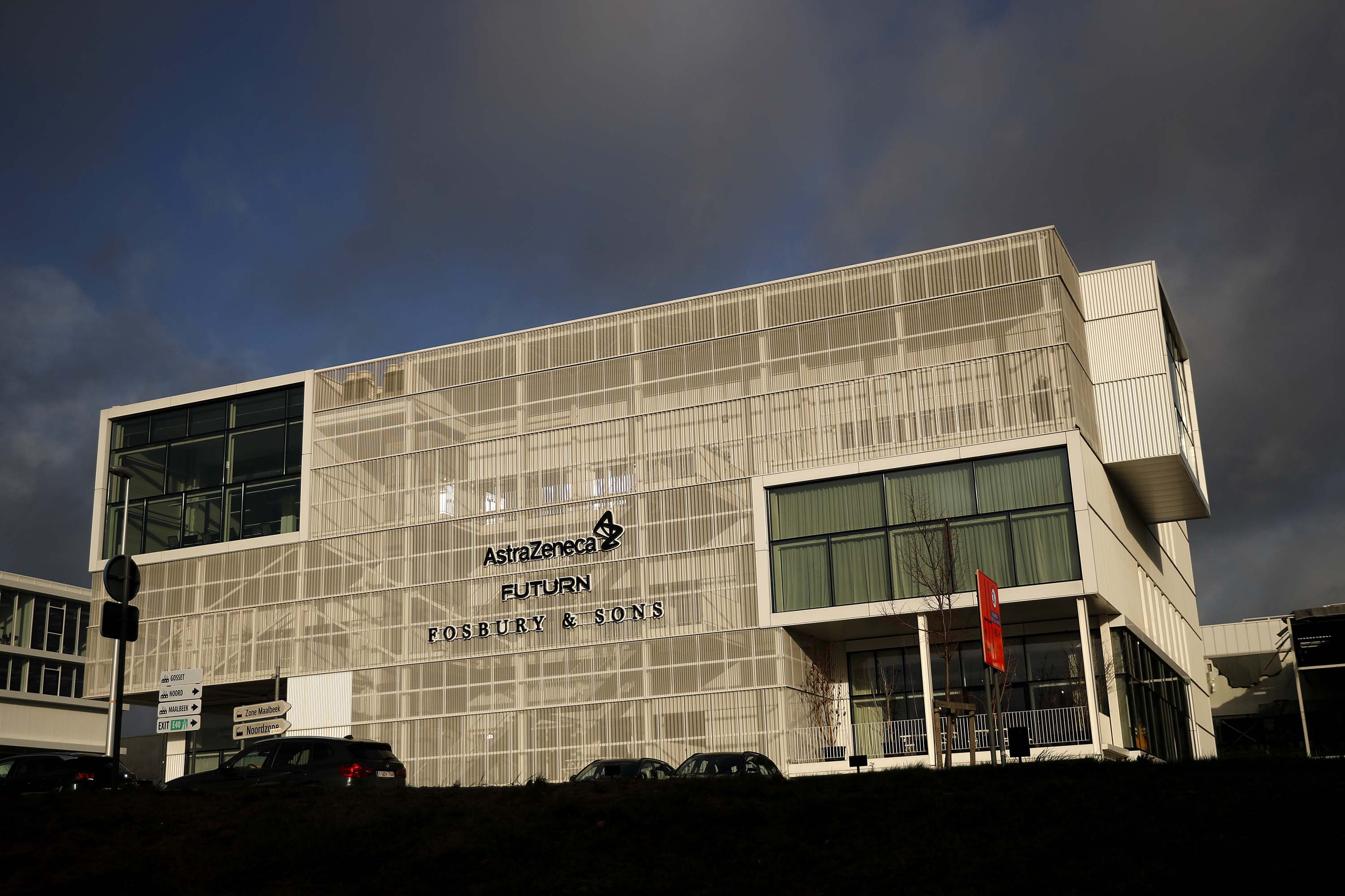 An AstraZeneca office building is pictured in Brussels, Belgium, on Friday, January 29.