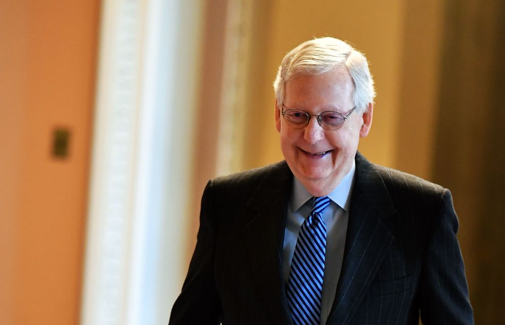 Senate Majority Leader Mitch McConnell, R-KY, walks to his office at the US Capitol in Washington, DC on January 7, 2020.