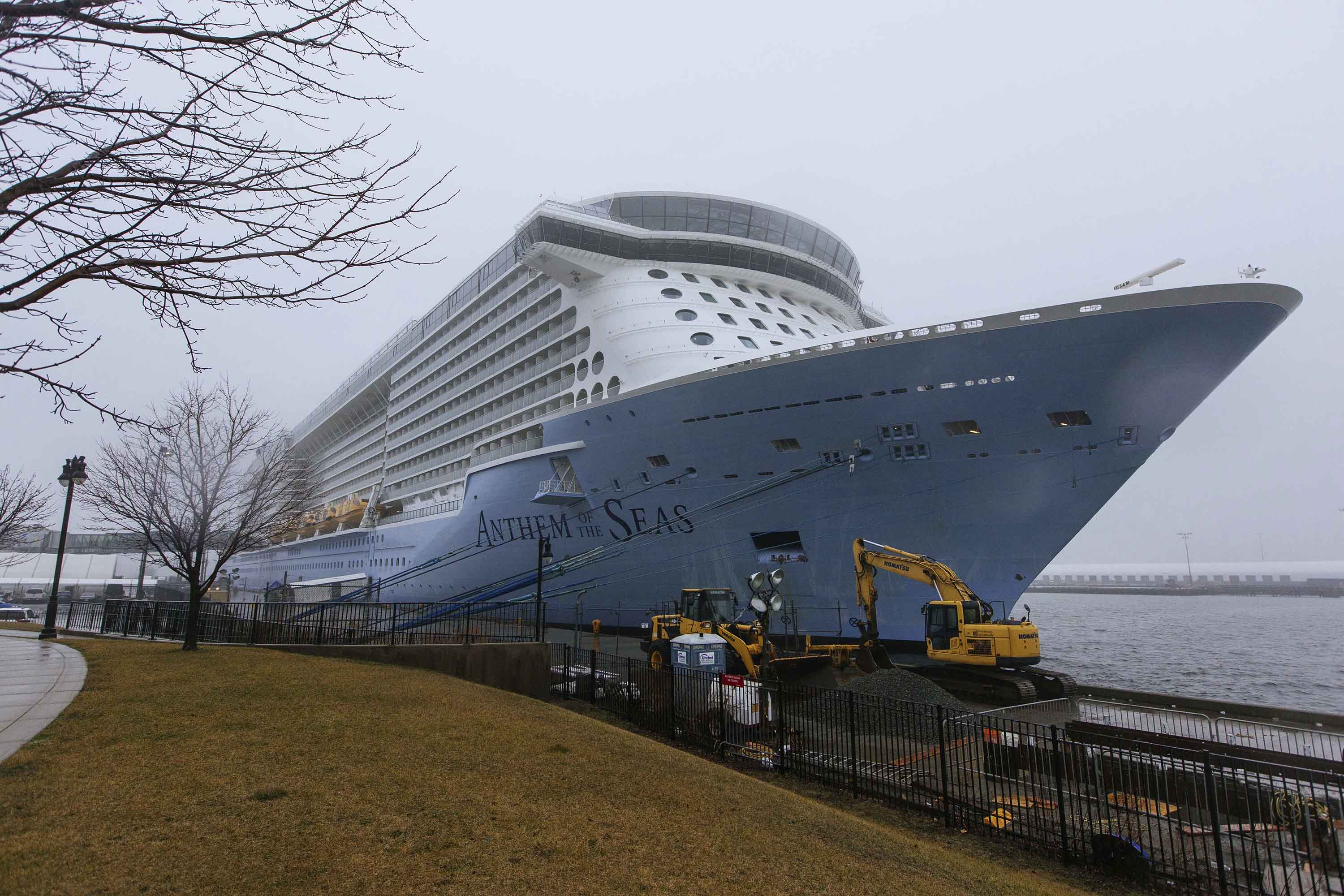 The Anthem of the Seas cruise ship is seen docked in Bayonne, N.J. on Friday.