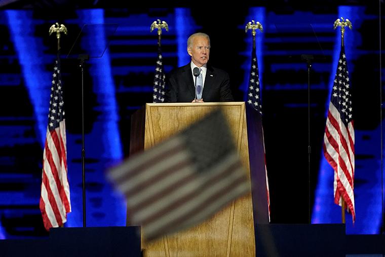 President-elect Joe Biden addresses the nation from the Chase Center on November 07, 2020 in Wilmington, Delaware.