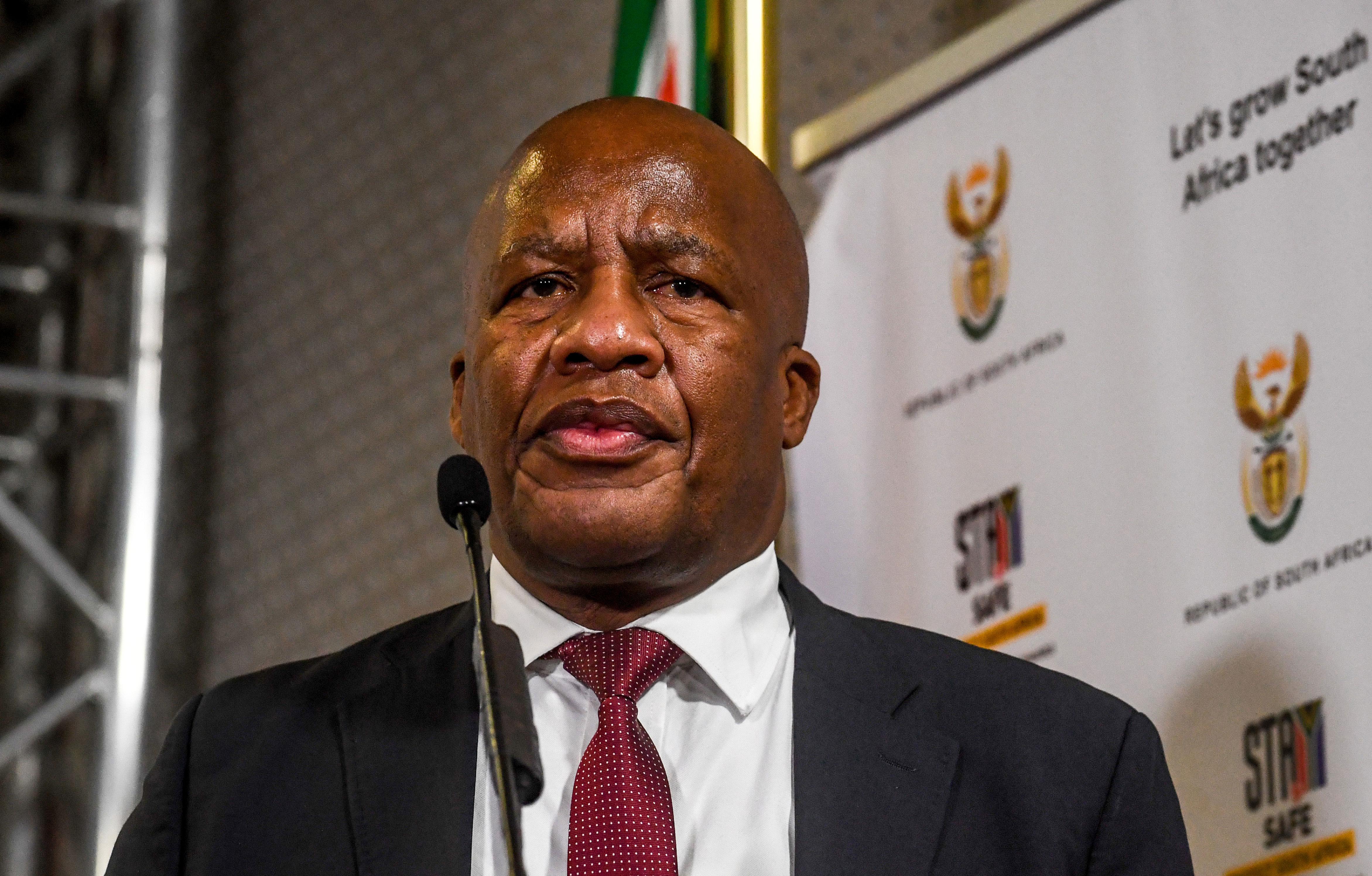 Minister in the Presidency Jackson Mthembu speaks in Pretoria, South Africa, on September 30, 2020.