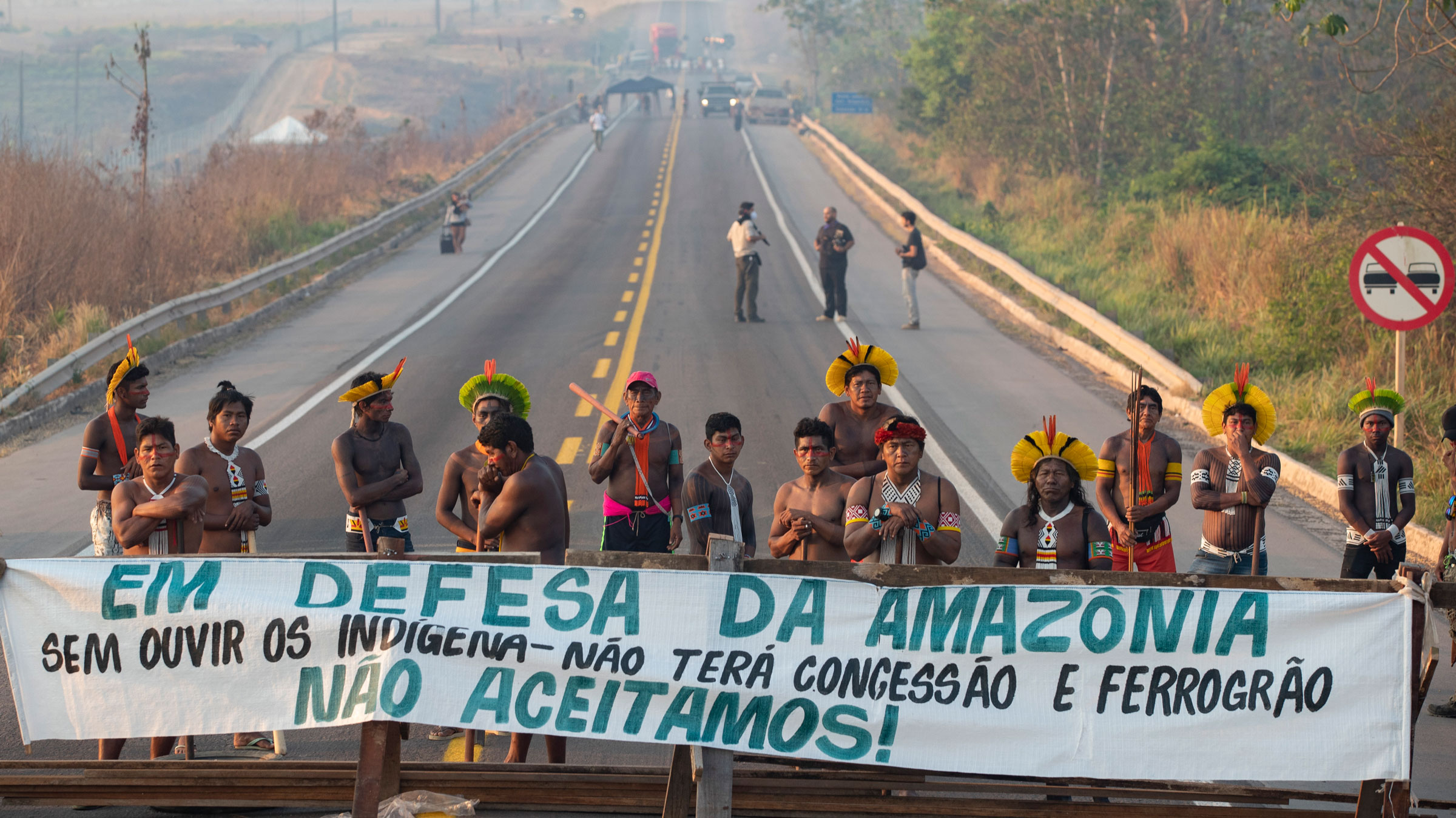 Indigenous protesters block a highway near Novo Progresso, Brazil, on Monday.