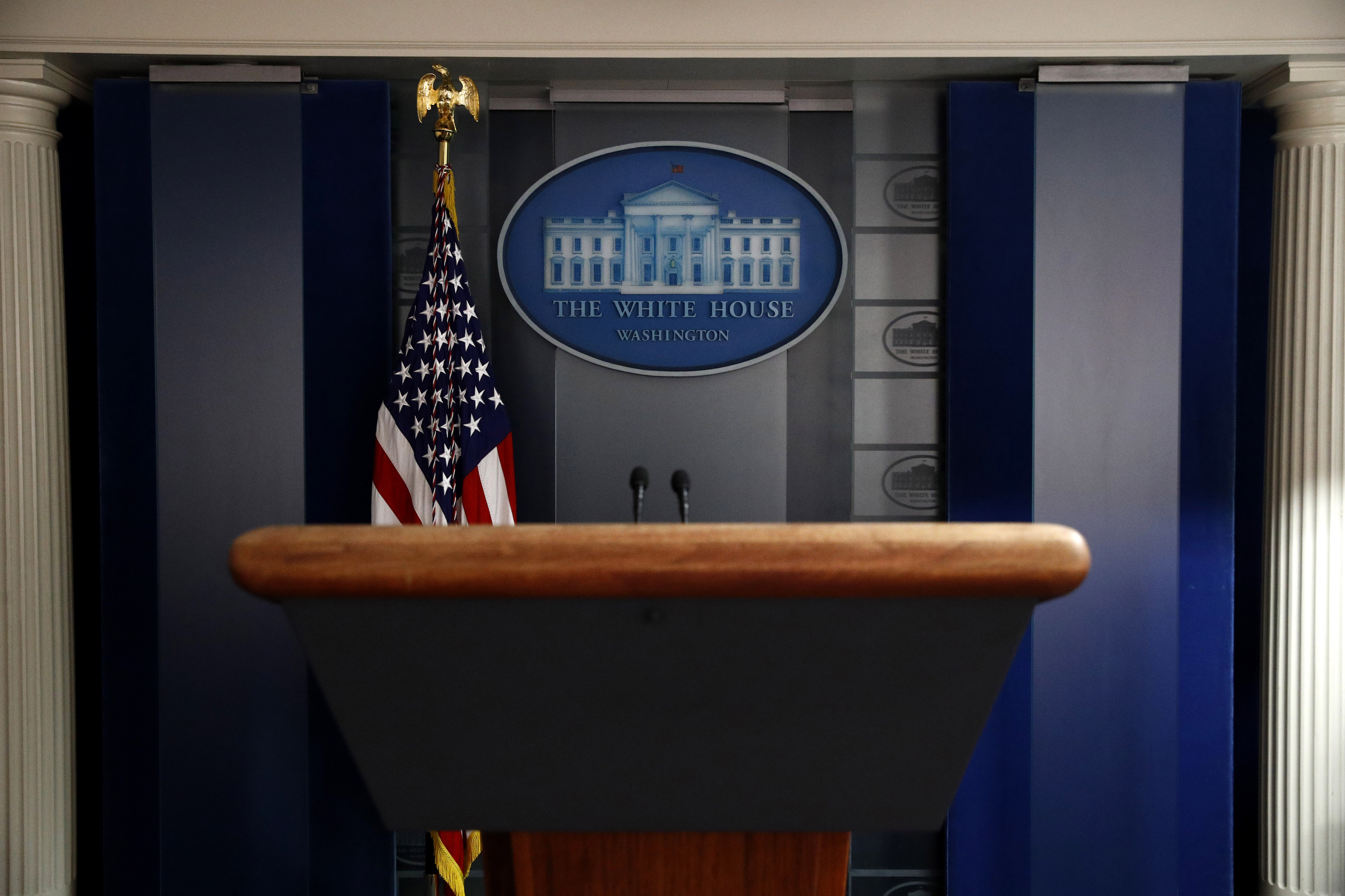 A podium in the James S. Brady Press Briefing Room at the White House on April 26.