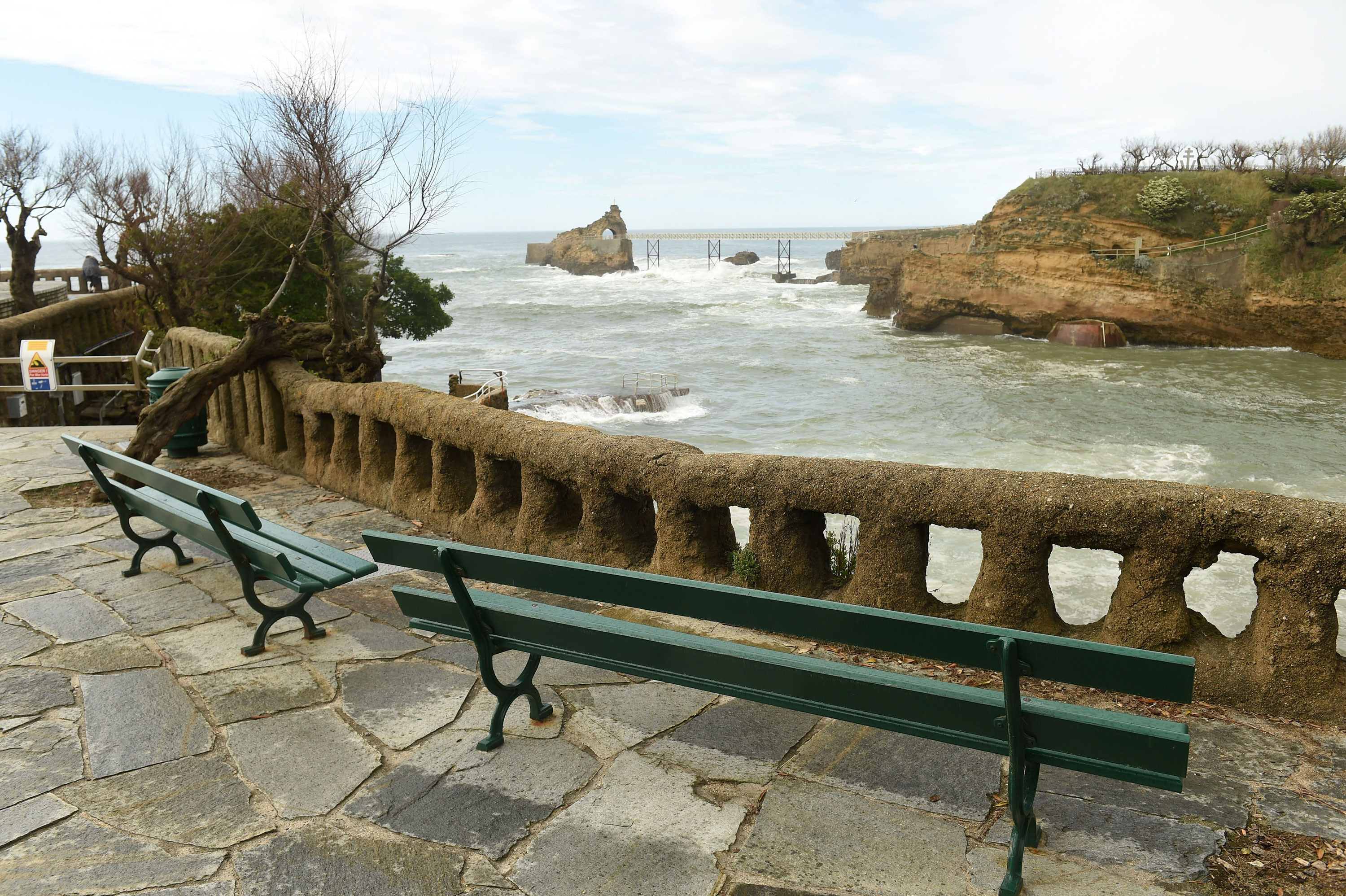 Empty benches are seen at the seafront of Biarritz, France on April 7.