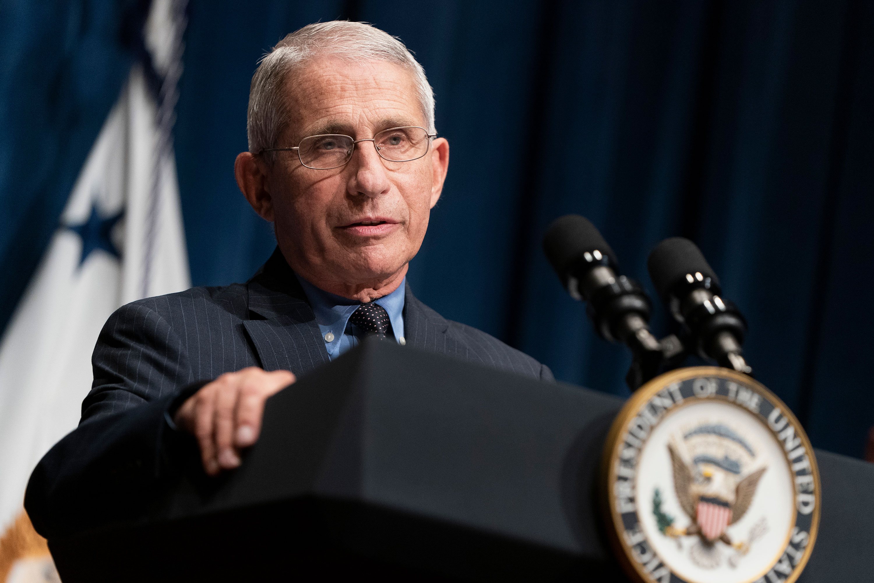 Dr. Anthony Fauci speaks after a White House Coronavirus Task Force briefing at the Department of Health and Human Services on June 26 in Washington, DC.