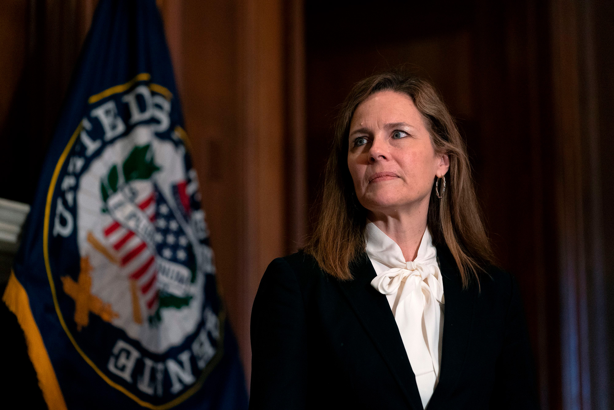 Judge Amy Coney Barrett meets with Sen. John Hoeven on Capitol Hill in Washington, DC, on October, 1.