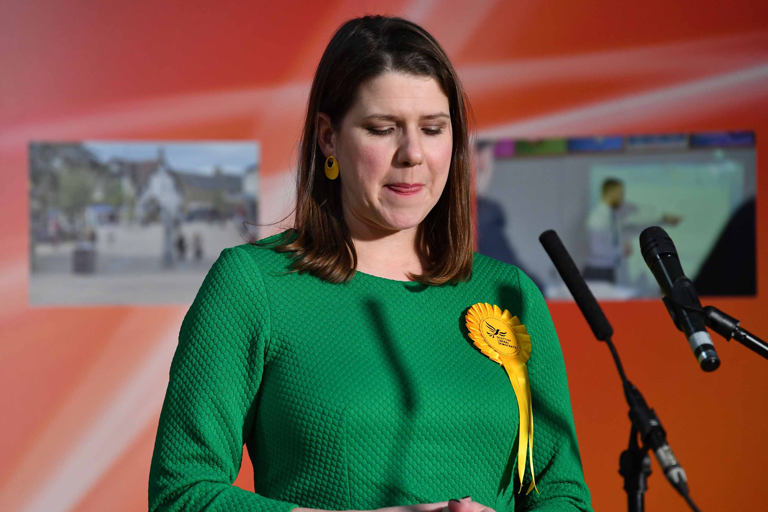 Liberal Democrat leader Jo Swinson reacts as she speaks on stage after losing her seat in Bishopbriggs, north of Glasgow, on December 13. Photo: Paul Ellis/AFP via Getty Images
