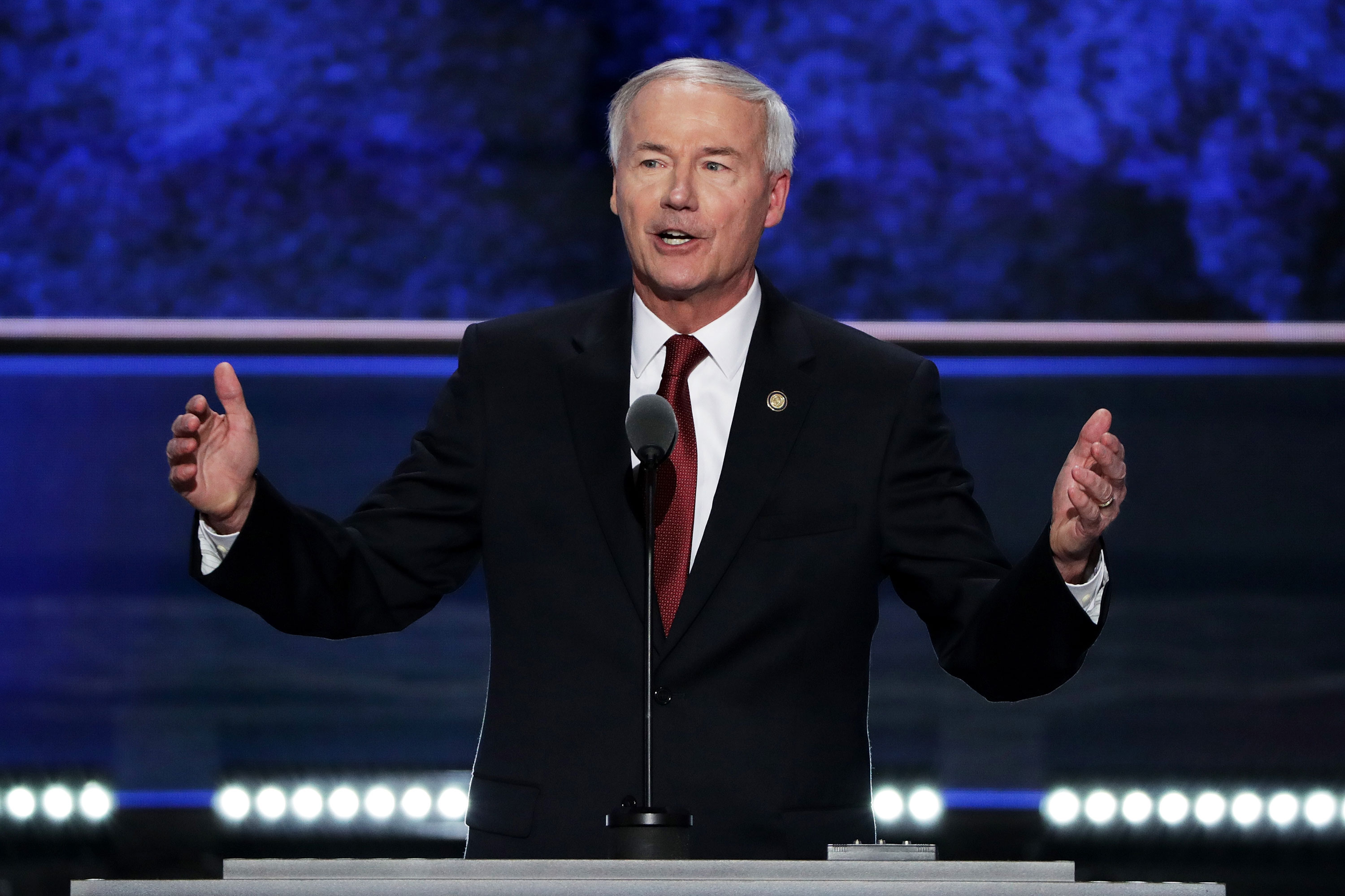 Gov. Asa Hutchinson delivers a speech during the 2016 Republican National Convention in Cleveland, Ohio.