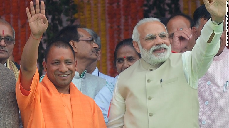 Chief Minister of Uttar Pradesh Yogi Adityanath (left) and Indian Prime Minister Narendra Modi.
