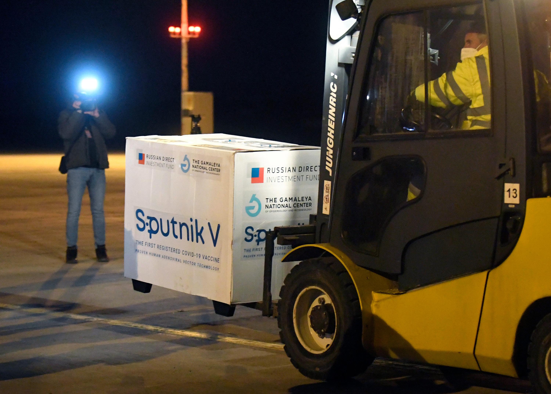 Russia's Sputnik V coronavirus vaccine arrives at Kosice Airport, Slovakia, on March 1.