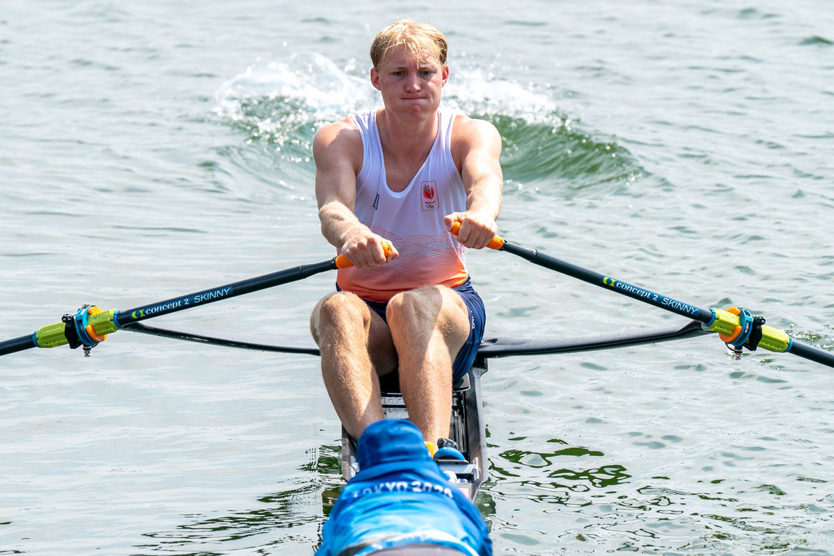 Finn Florijn of the Netherlands competes in a men's single sculls heat at the Sea Forest Waterway on July 23.