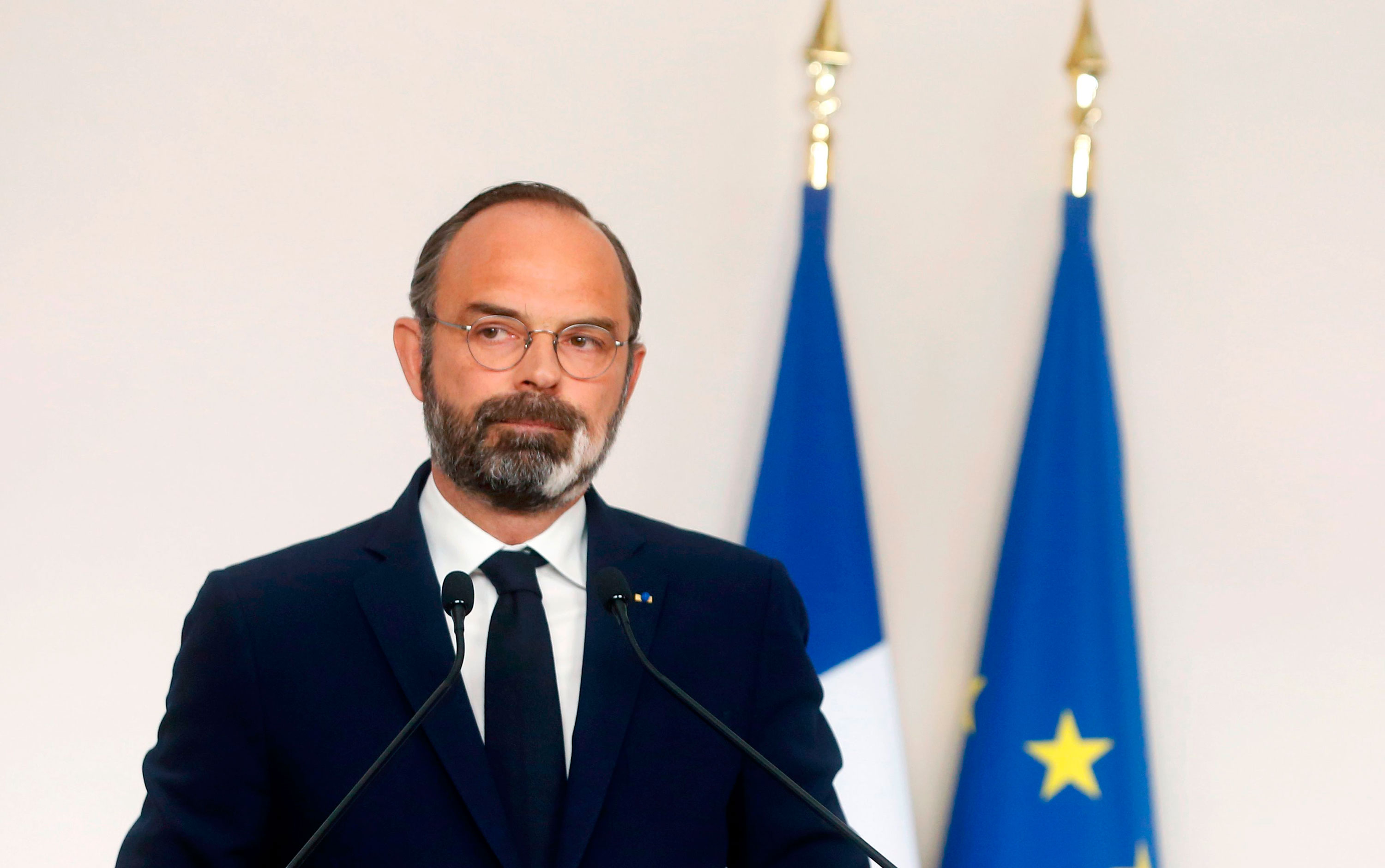 French Prime Minister Edouard Philippe speaks at a press conference in Paris on April 19.