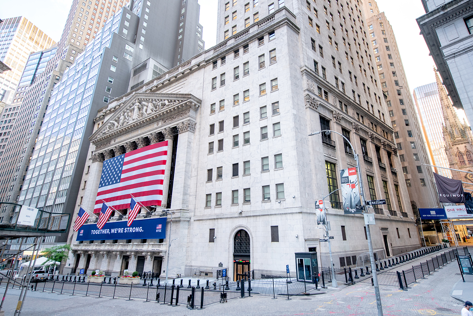 A view of New York Stock Exchange on Wall Street in lower Manhattan, on June 01.