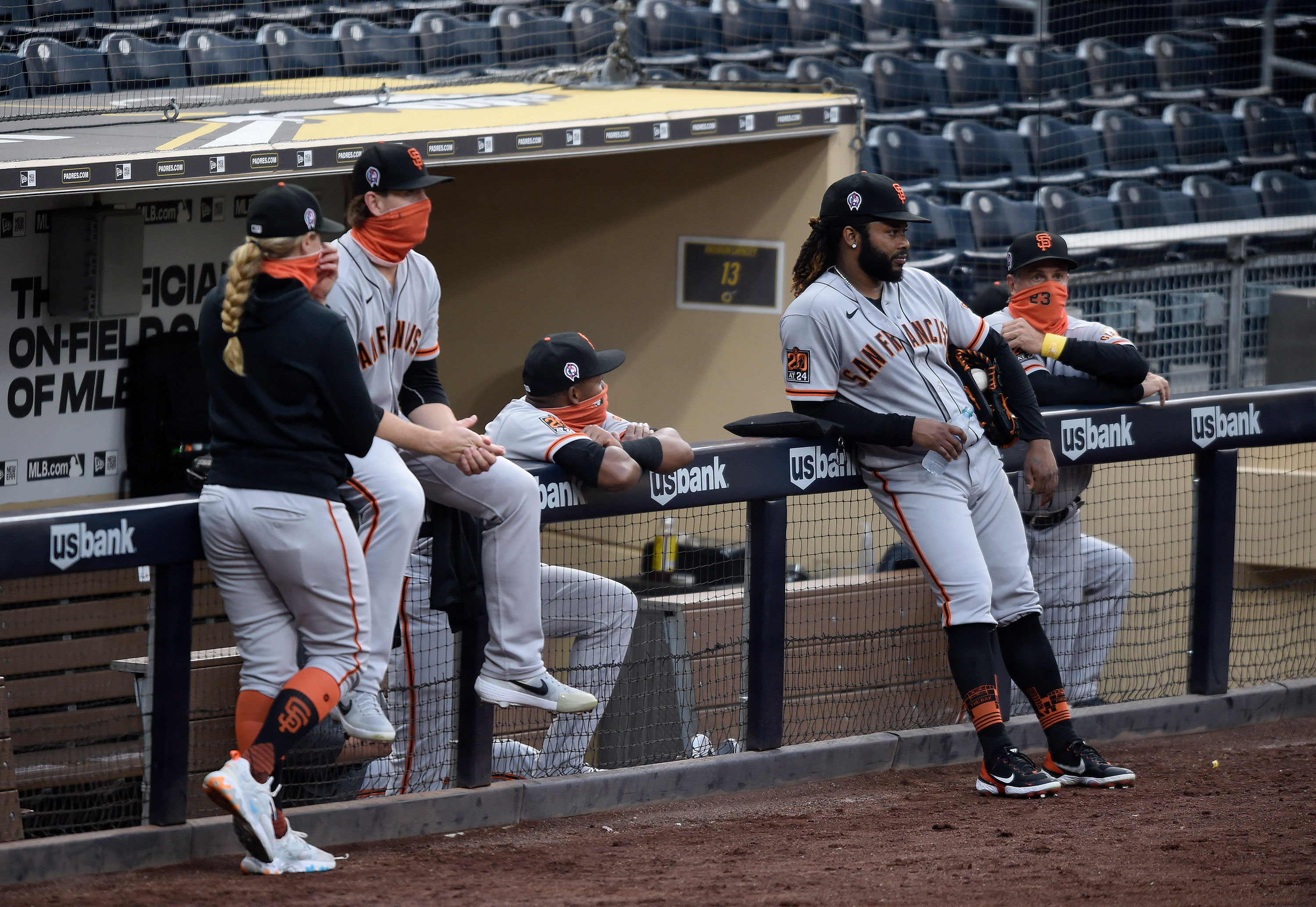 Members of the San Francisco Giants are seen after their game against the San Diego Padres was postponed on September 11 in San Diego, California.