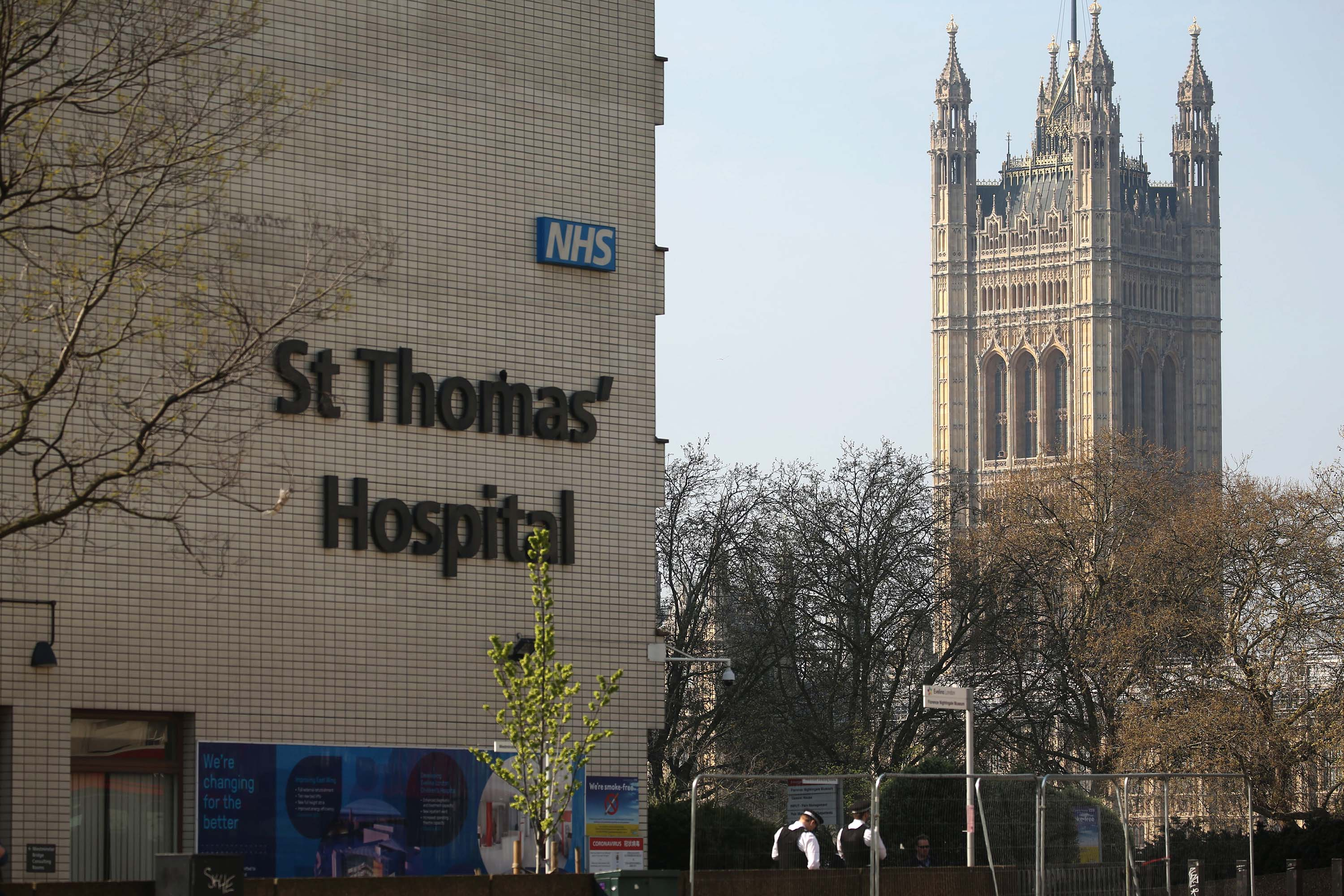 A general view of St Thomas' Hospital in London on April 9, where Britain's Prime Minister Boris Johnson continues to be treated for coronavirus.