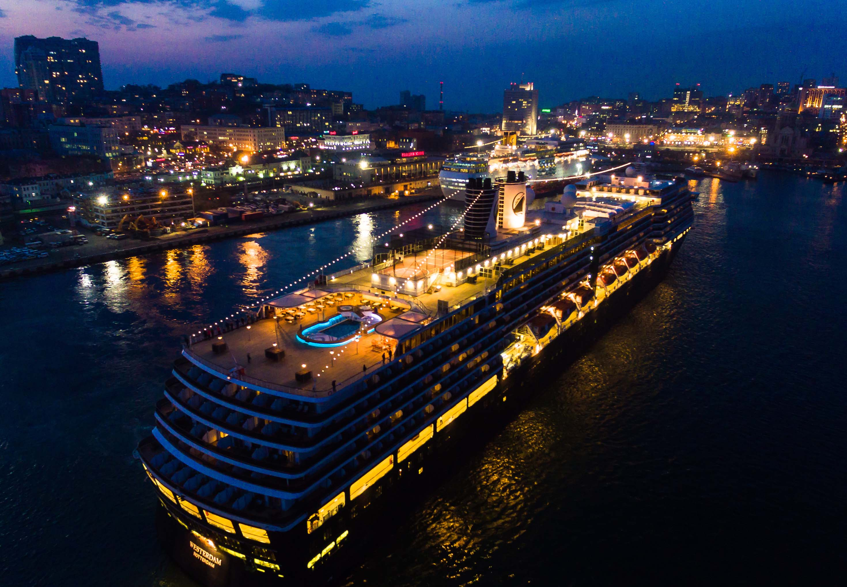 The Westerdam cruise ship is seen at the port of Vladivostok, Russia, in April 2019.