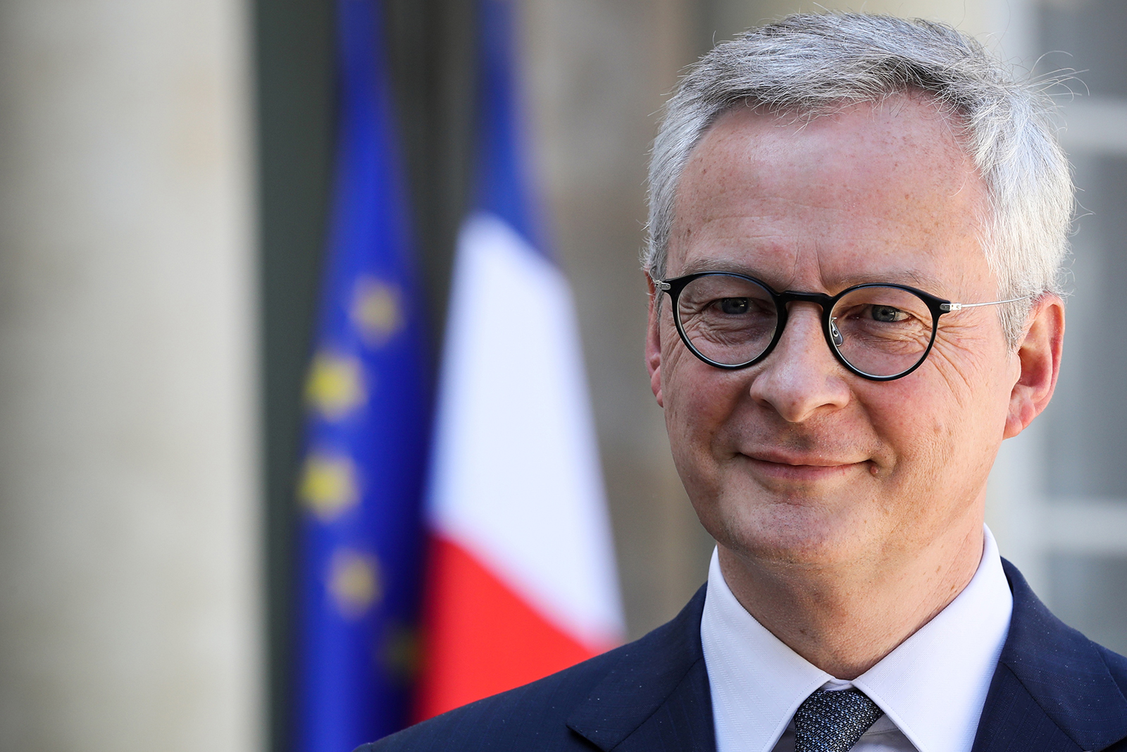 French Economy and Finance Minister Bruno Le Maire arrives for press briefing at the Elysee Palace in Paris, on April 24.