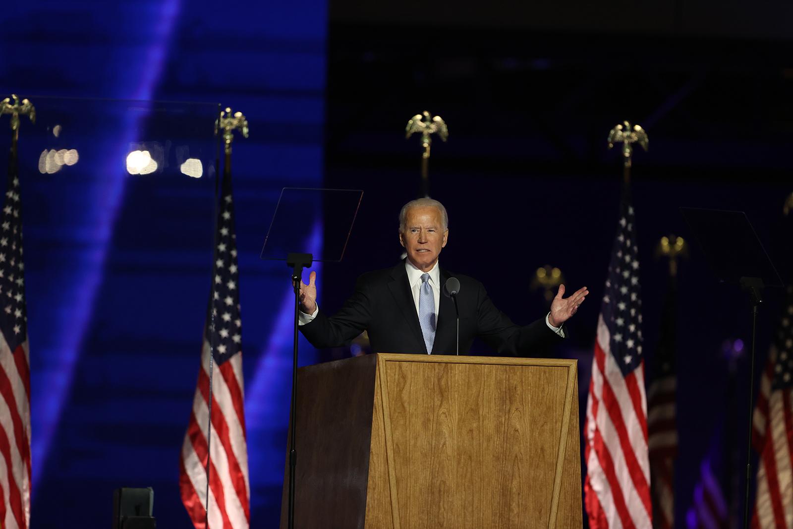President-elect Joe Biden addresses the nation from the Chase Center November 7, in Wilmington, Delaware.
