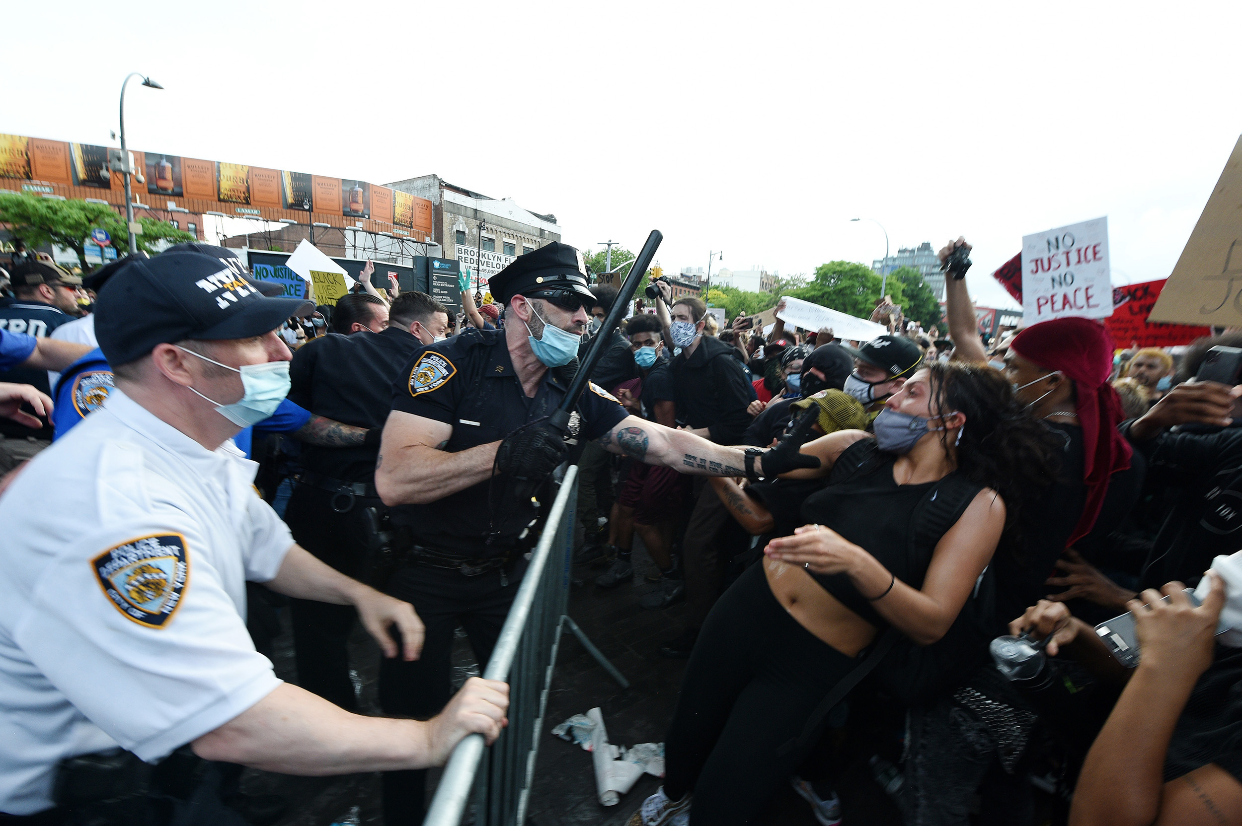 Protesters and police clash outside Barclays Center in Brooklyn