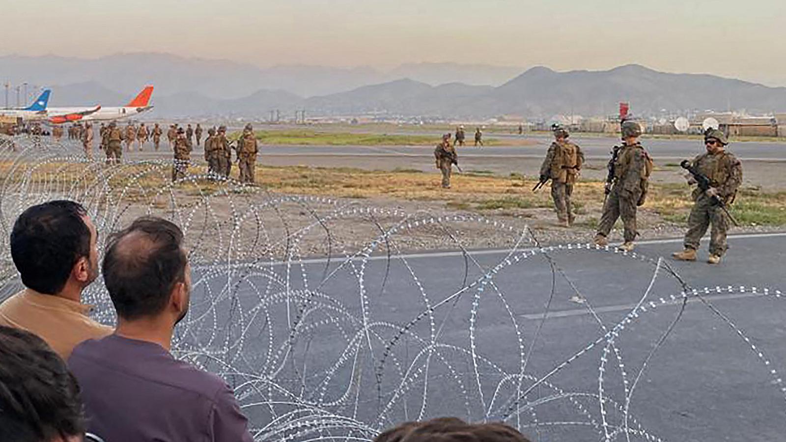 News • US Marines Monitor Air Traffic at Hamid Karzai International Airport • Kabul Afghanistan