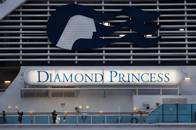 The Diamond Princess cruise ship at Daikoku Pier on February 19, in Yokohama, Japan.