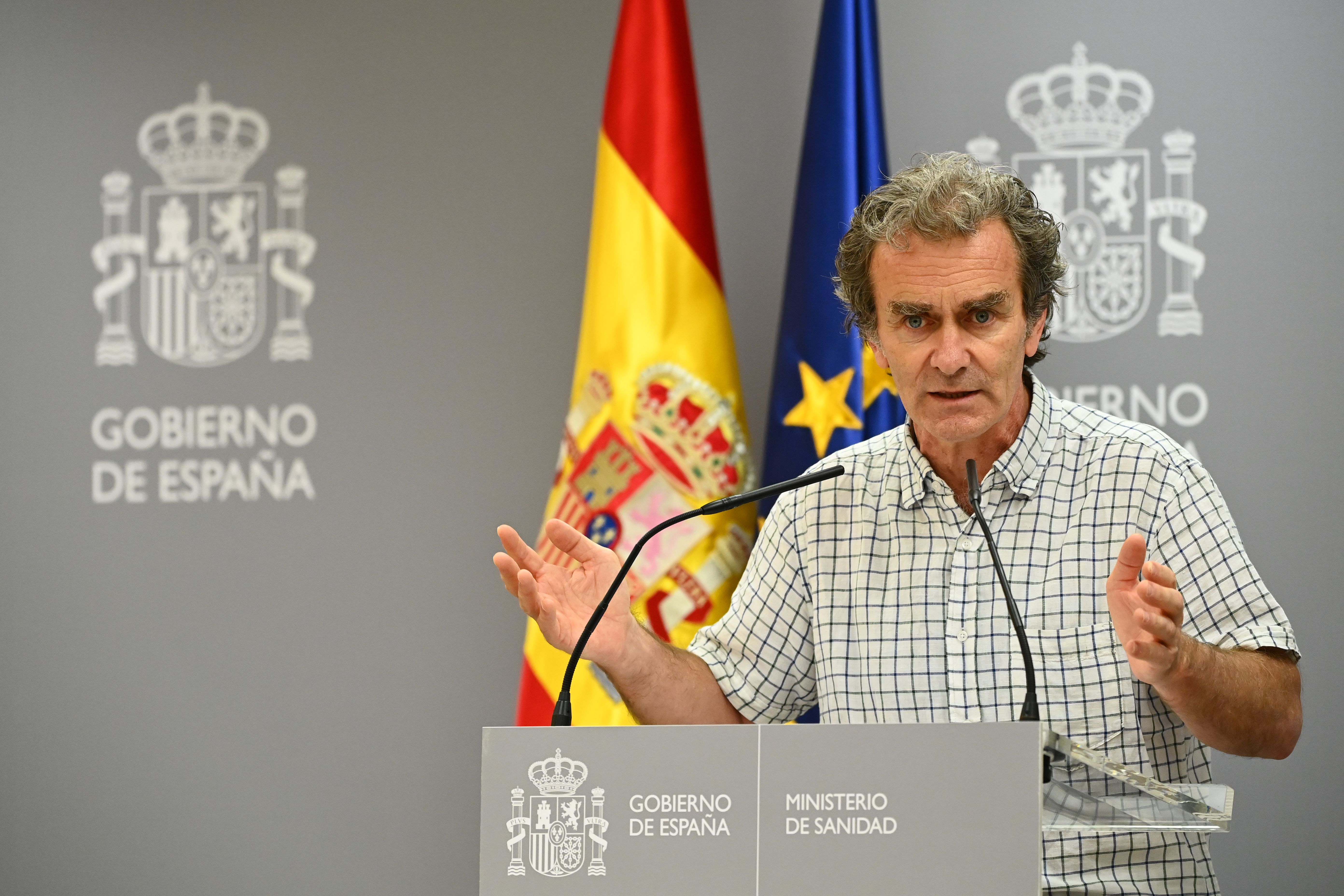 Dr. Fernando Simon, the Director of the Spanish Centre for Coordination of Health Alerts and Emergencies (CCAES), speaks at a press conference in Madrid on June 25.