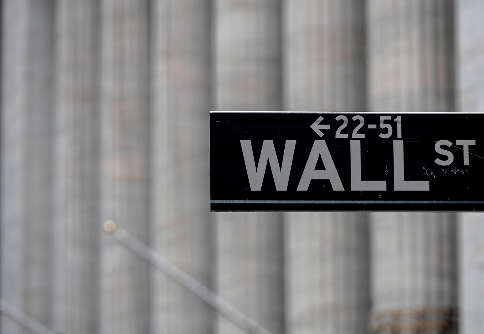A Wall St. sign near the New York Stock Exchange on May 8, in New York City.
