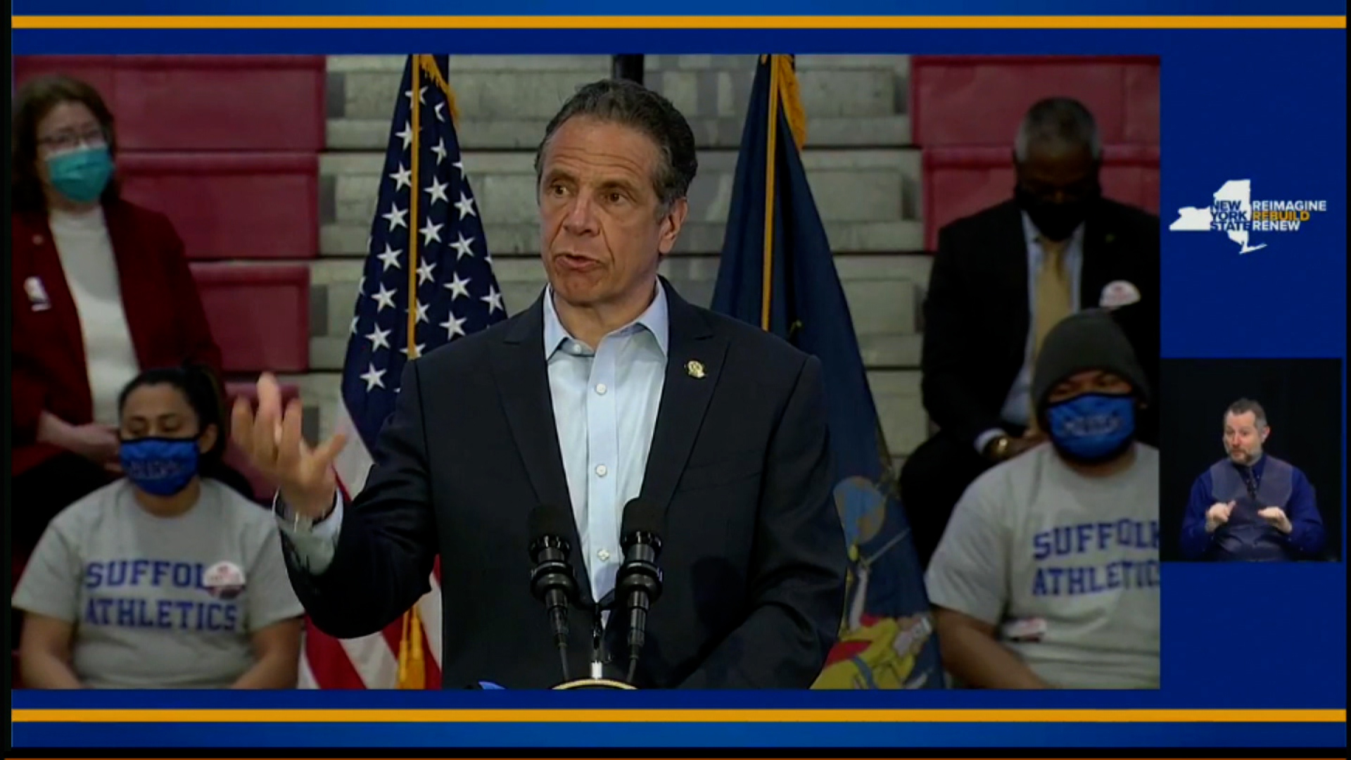 New York Gov. Andrew Cuomo speaks during an event in Brentwood, New York, on April 12.