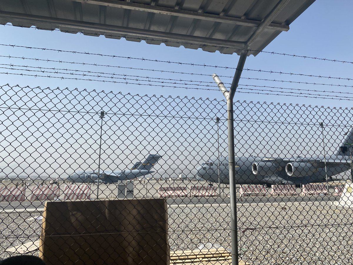 In this photo from Stefano Pontecorvo, the NATO Senior Civilian Representative to Afghanistan, airplanes are seen at the Kabul International Airport on August 17.