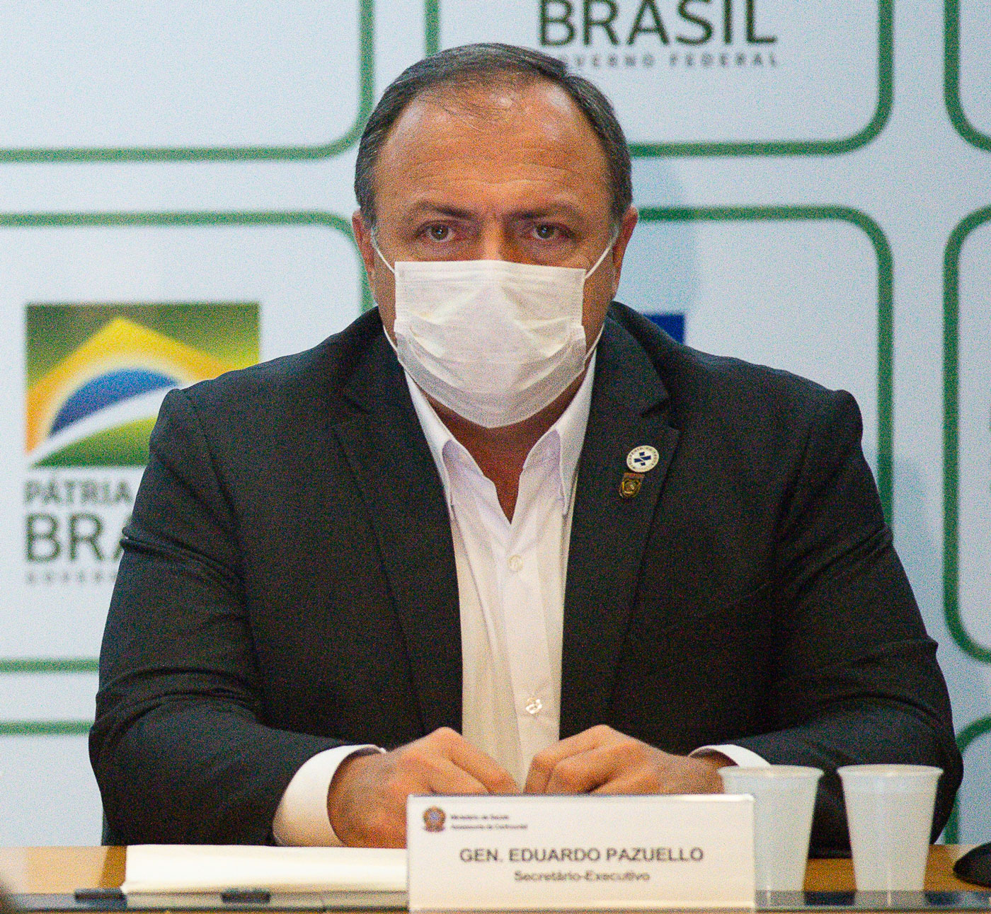 Executive Secretary of the Ministry Health Eduardo Pazuello sits during a press conference at the Ministry of Health on May 15 in Brasilia, Brazil.