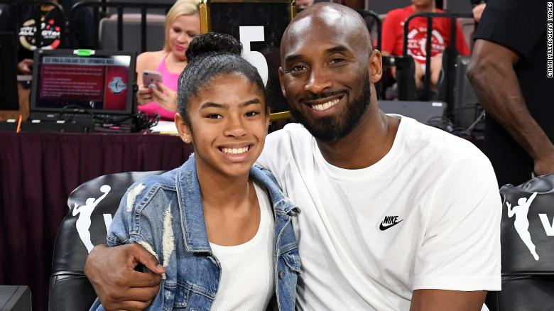 Gianna and Kobe Bryant at the WNBA All-Star Game in July 2019.