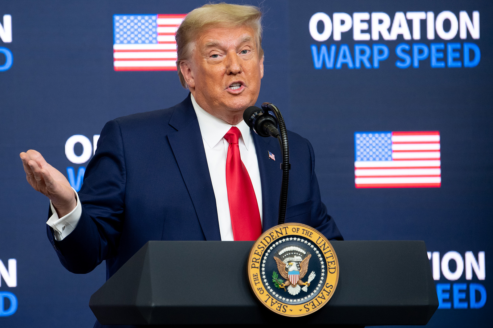 US President Donald Trump speaks during the Operation Warp Speed Vaccine Summit in Washington, DC, on December 8.