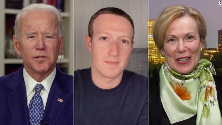Former Vice President Joe Biden, Facebook CEO Mark Zuckerberg, and Coronavirus Response Coordinator Deborah Birx.