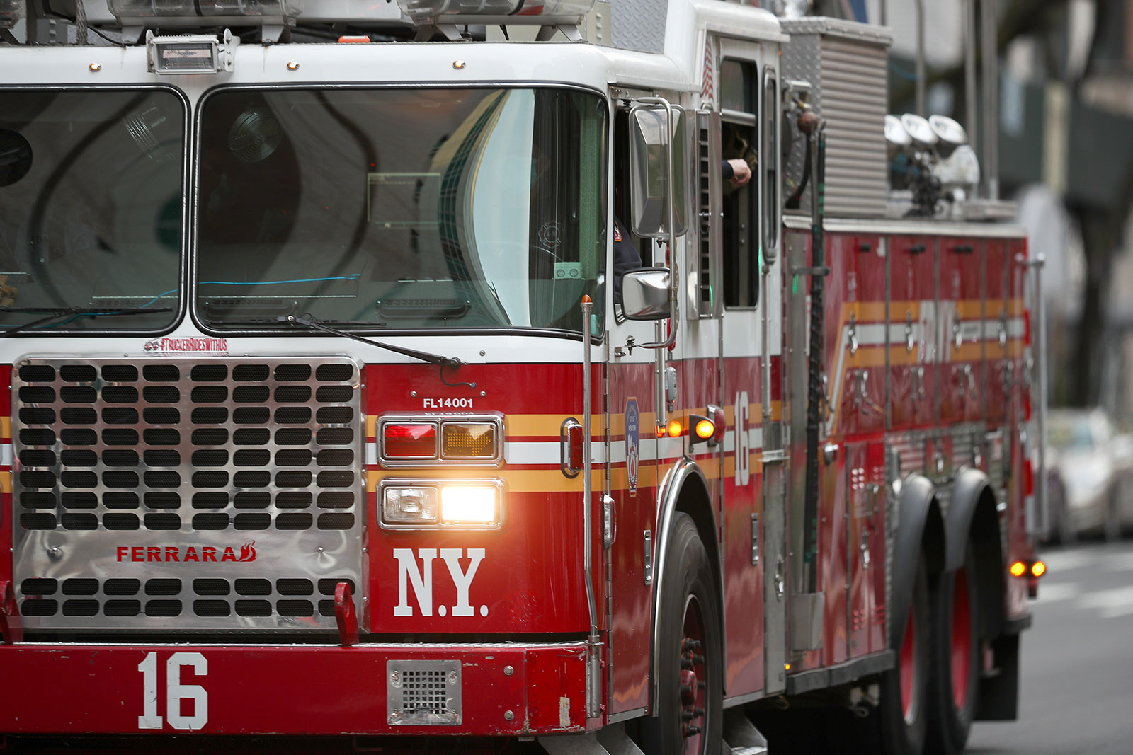 A fire truck is seen as firefighters and New Yorkers cheered for healthcare workers in New York City on April 12.