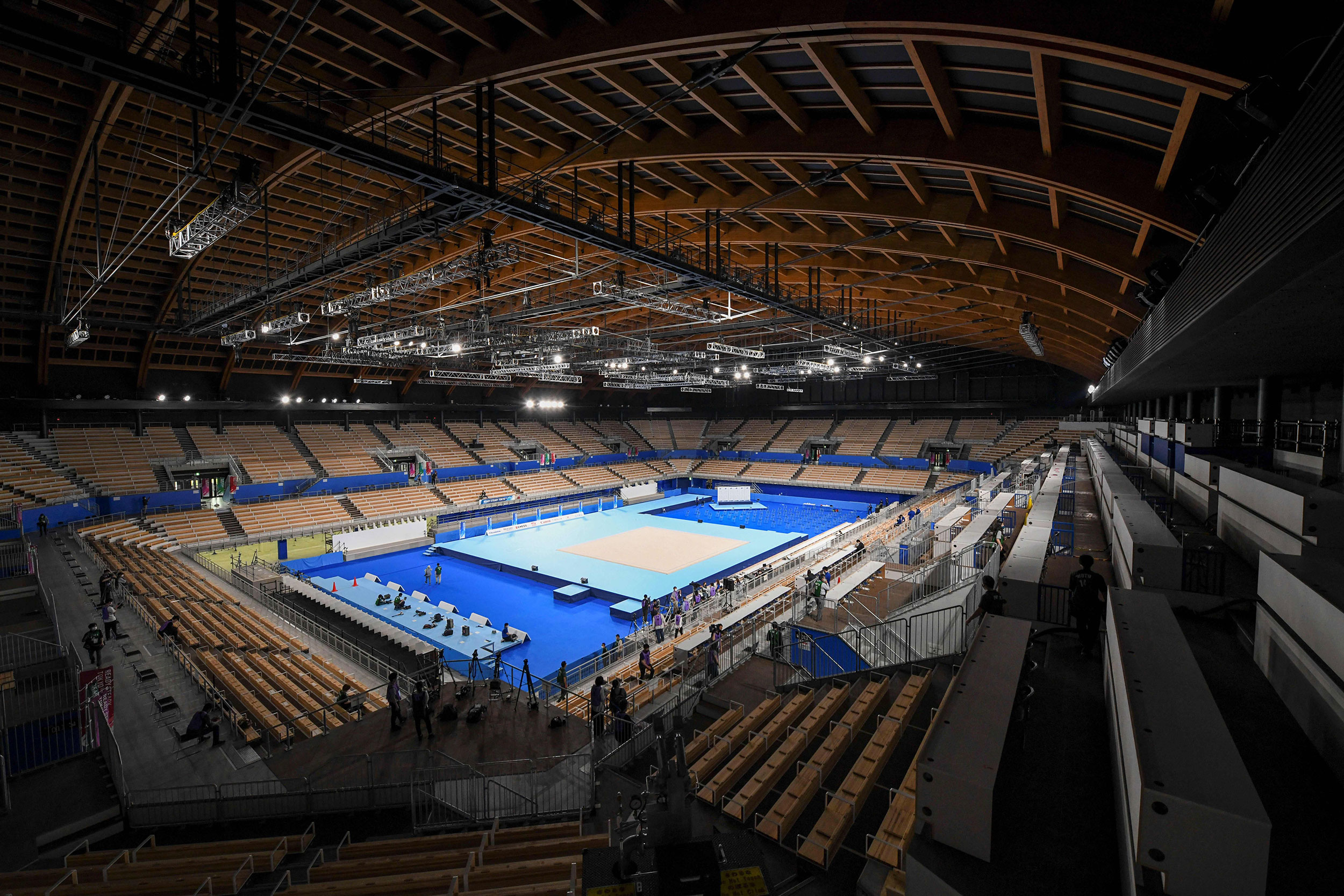 A view of the interior of the Ariake Gymnastics Centre in Tokyo, Japan. The venue will host artistic, rhythmic and trampoline gymnastics.