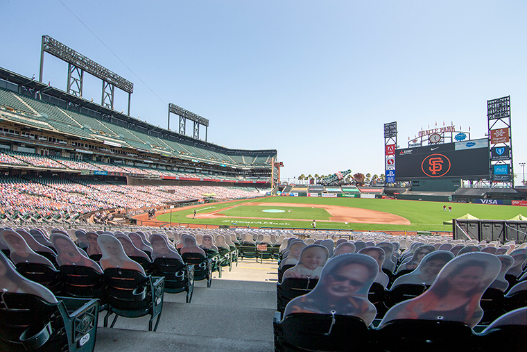 A general view of Oracle Park with cutout pictures of fans in the seats on September 6, in San Francisco, California.