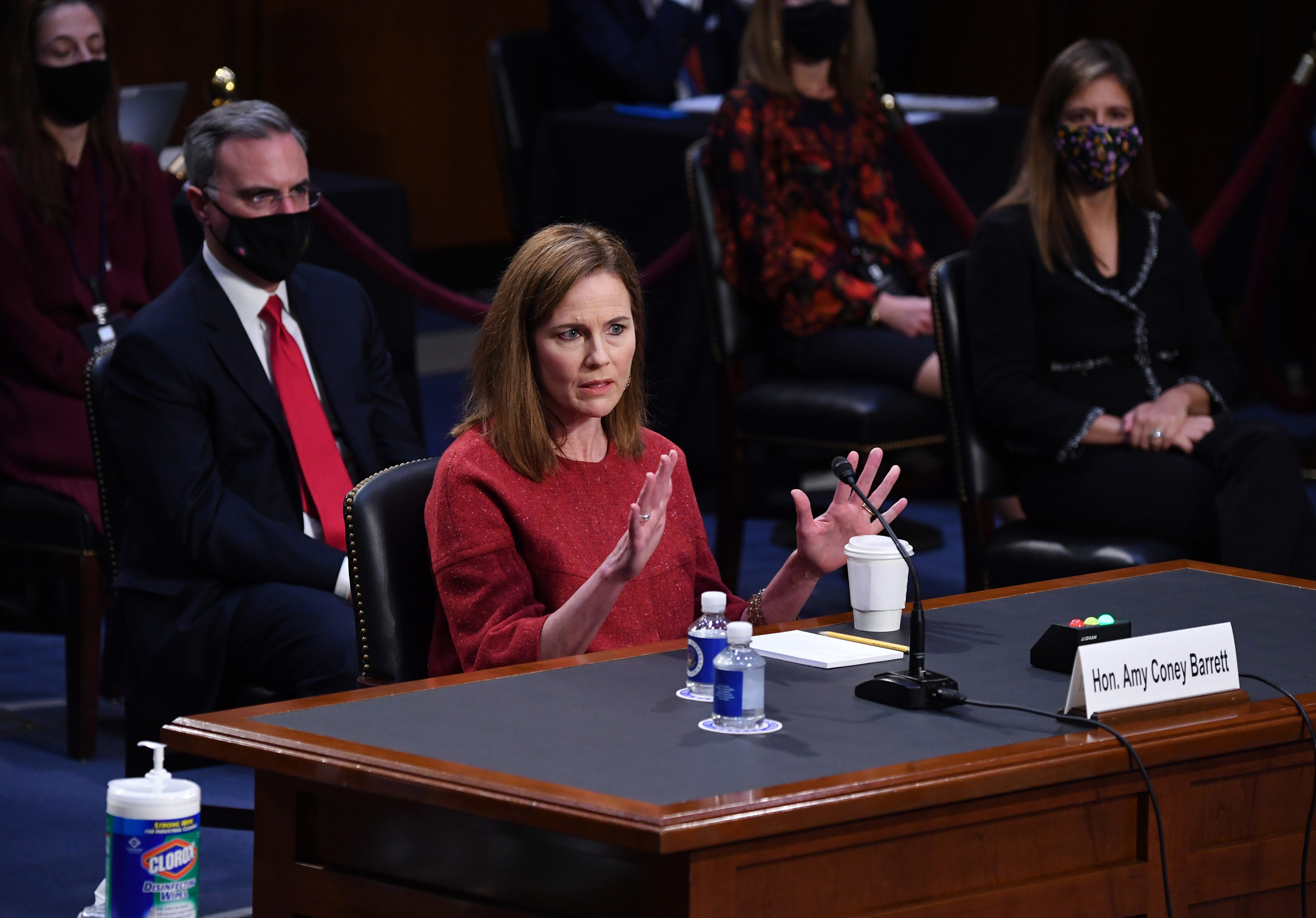 Supreme Court nominee Judge Amy Coney Barrett speaks during her confirmation hearing before the Senate Judiciary Committee on Capitol Hill in Washington, DC, on October 13.