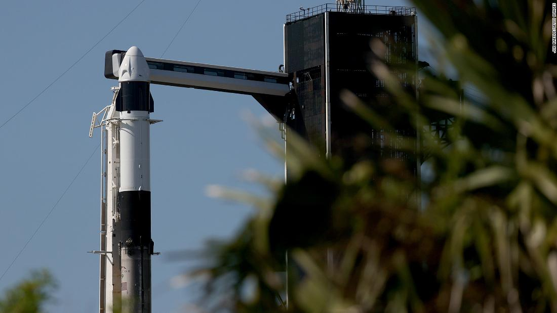 The SpaceX Falcon 9 rocket and Crew Dragon sit on launch Pad 39A at NASA's Kennedy Space Center on September 15, 2021 in Cape Canaveral, Florida.