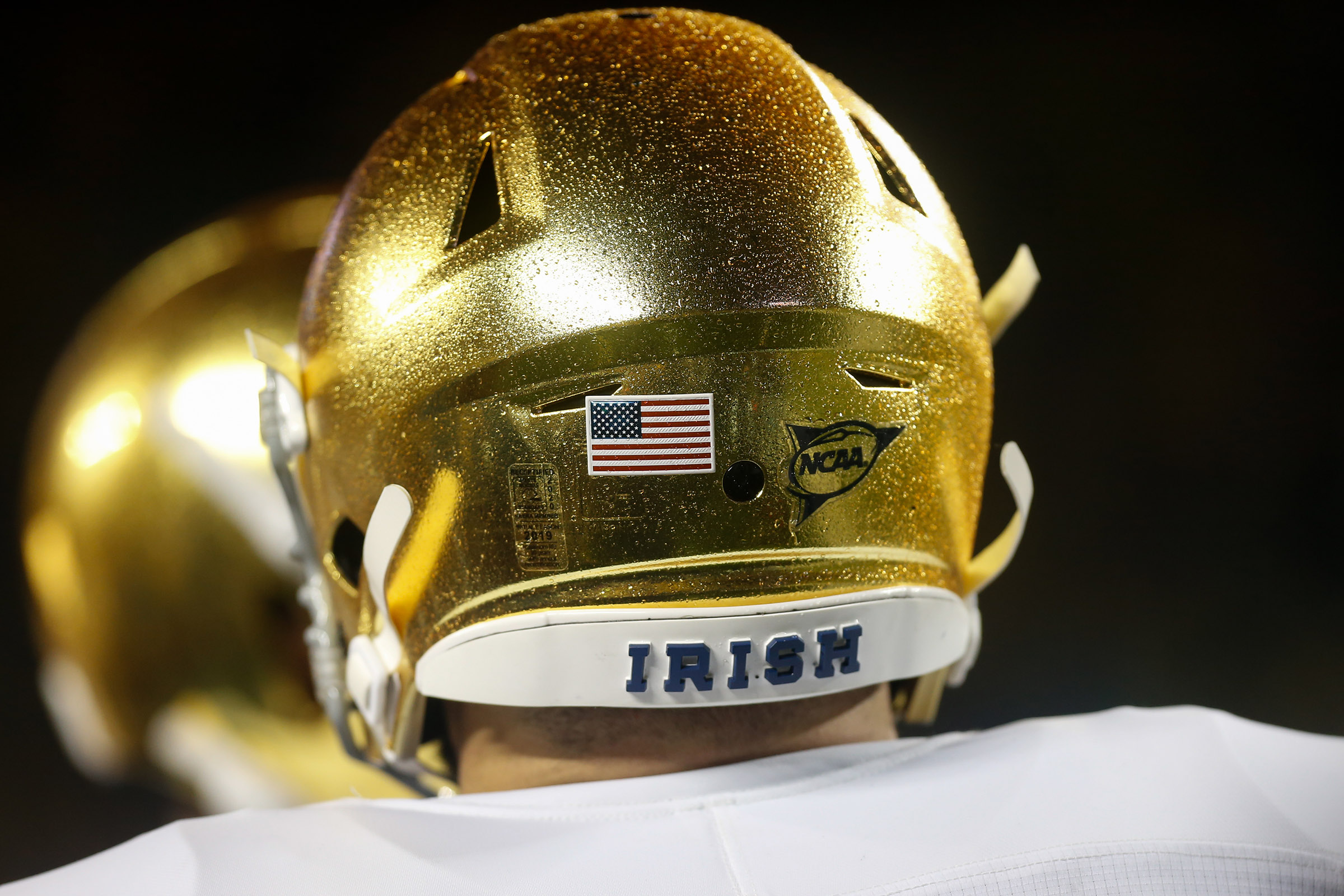 The back of a Notre Dame player's helmet is seen during a game against the Michigan Wolverines on October 26, 2019 at Michigan Stadium in Ann Arbor, Michigan.