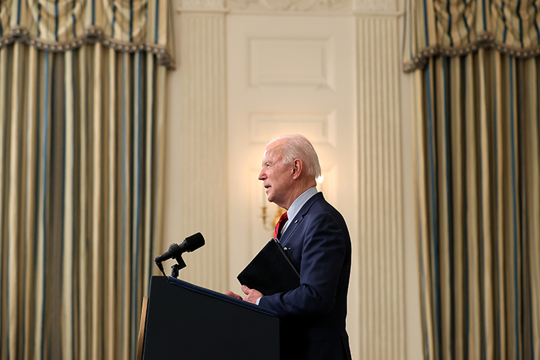 U.S. President Joe Biden delivers remarks about Monday's mass shooting in Boulder, Colorado, in the State Dining Room at the White House on March 23, 2021.