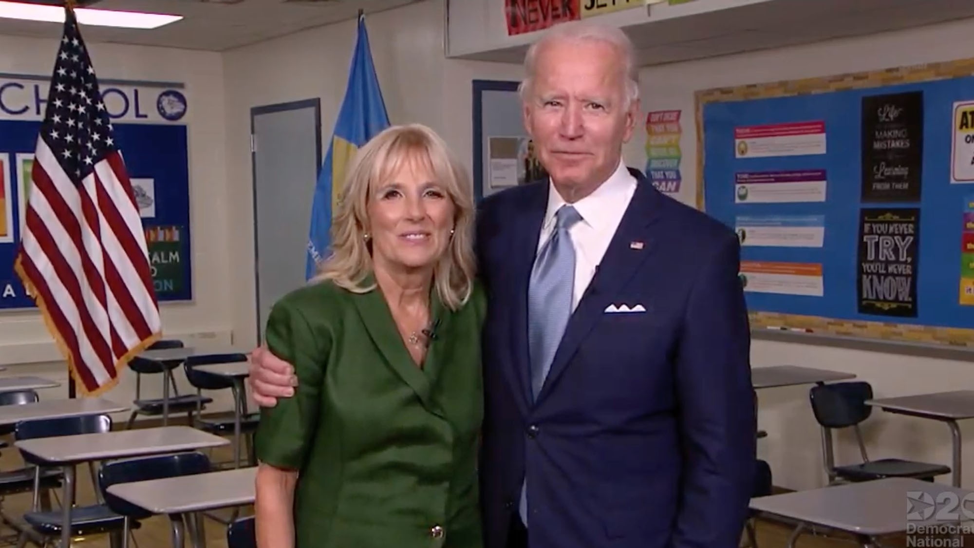 Former Second Lady Jill Biden and former Vice President Joe Biden stand together after remarks from Jill Biden on Tuesday, August 18, in Wilmington, Delaware.